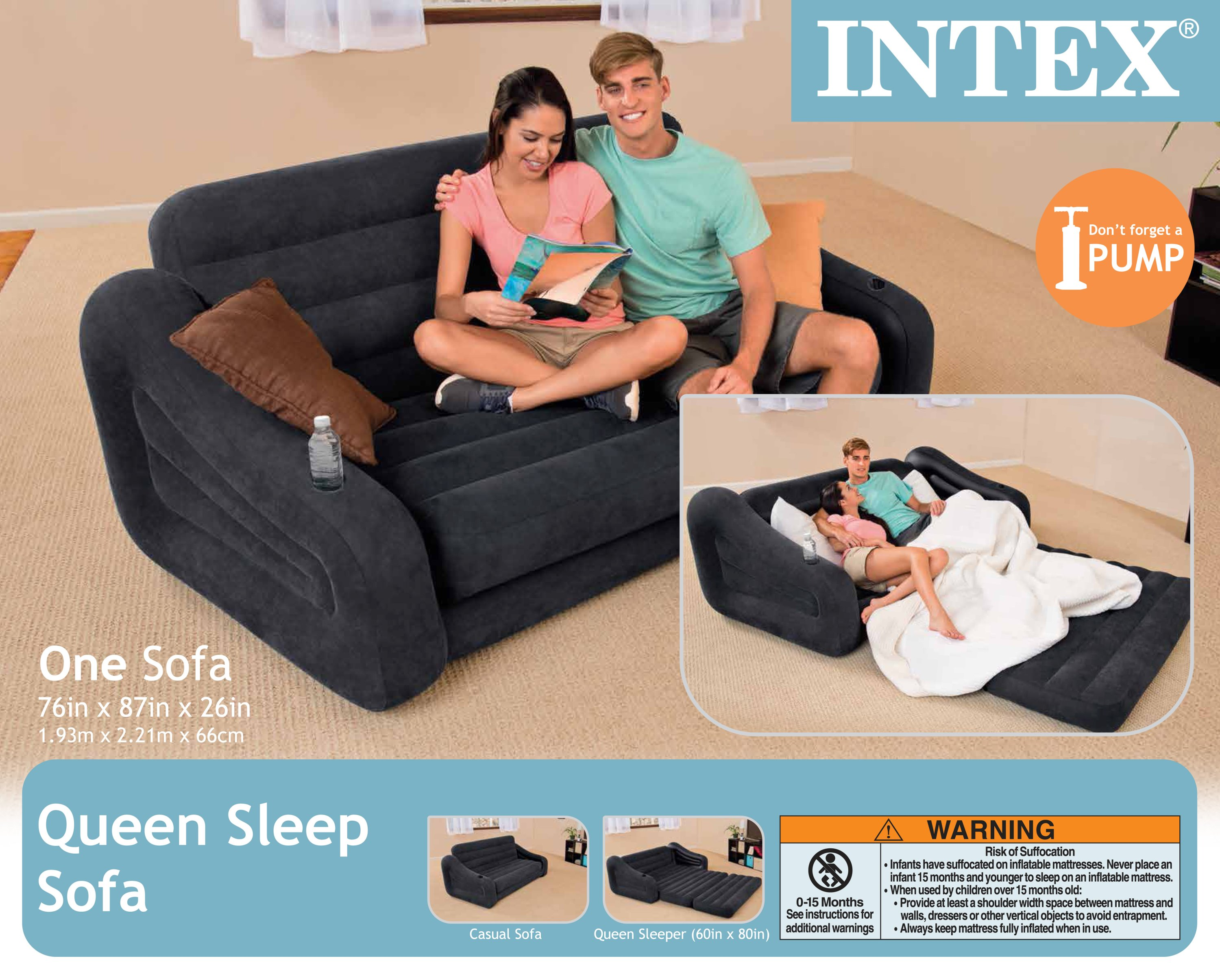 Intex Inflatable Queen Size Pull-Out Sofa Couch Bed, Dark Gray   68566EP
