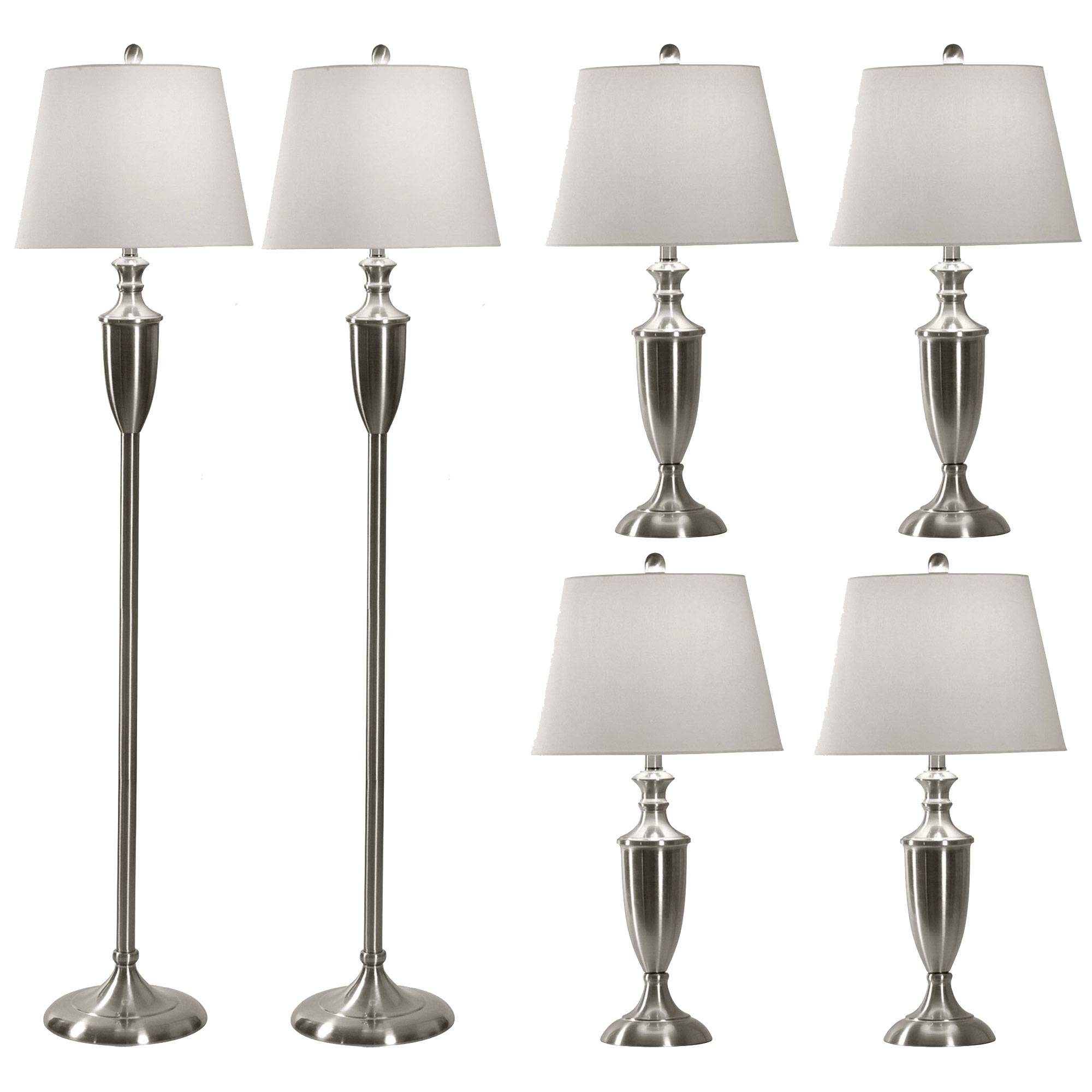 Abode 84 4 Brushed Steel Modern Table Lamps And 2 Floor Lamp Set