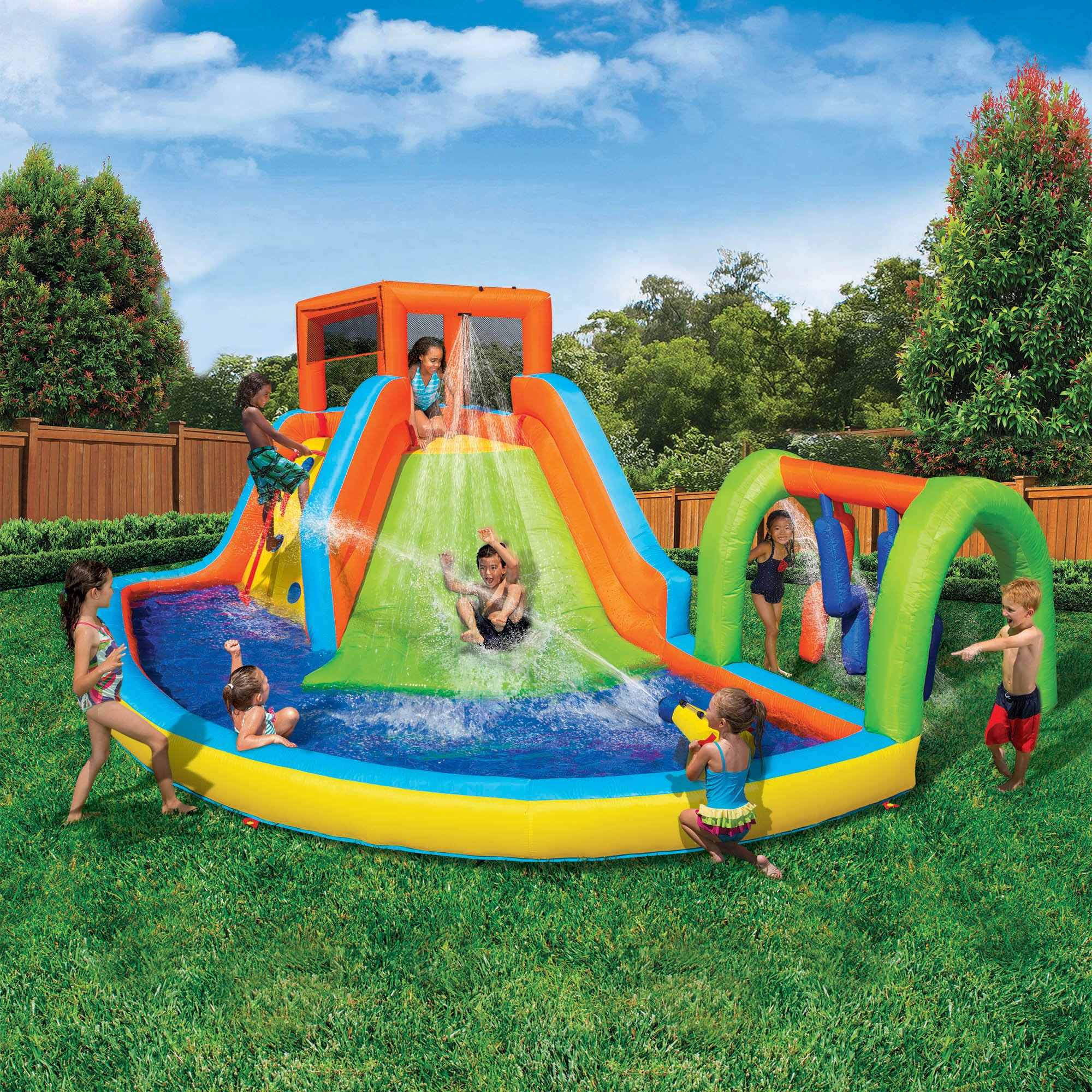 Inflatable Water Slide Toyworld: Banzai Inflatable Summit Splash Adventure Splash Pool