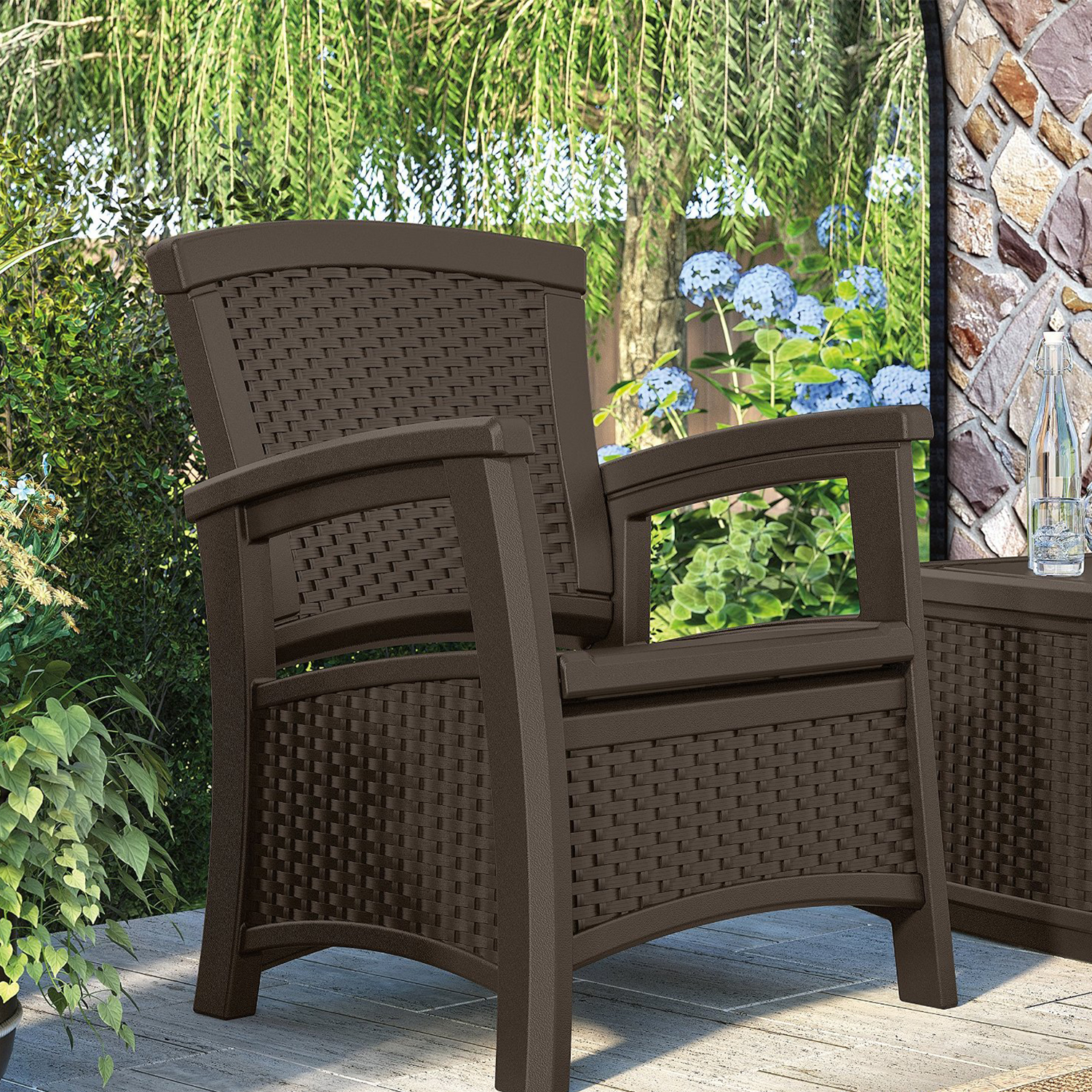 Outdoor Patio Furniture With Storage.Details About Suncast Elements Wicker Design Loveseat Resin Club Chairs Coffee Table Java