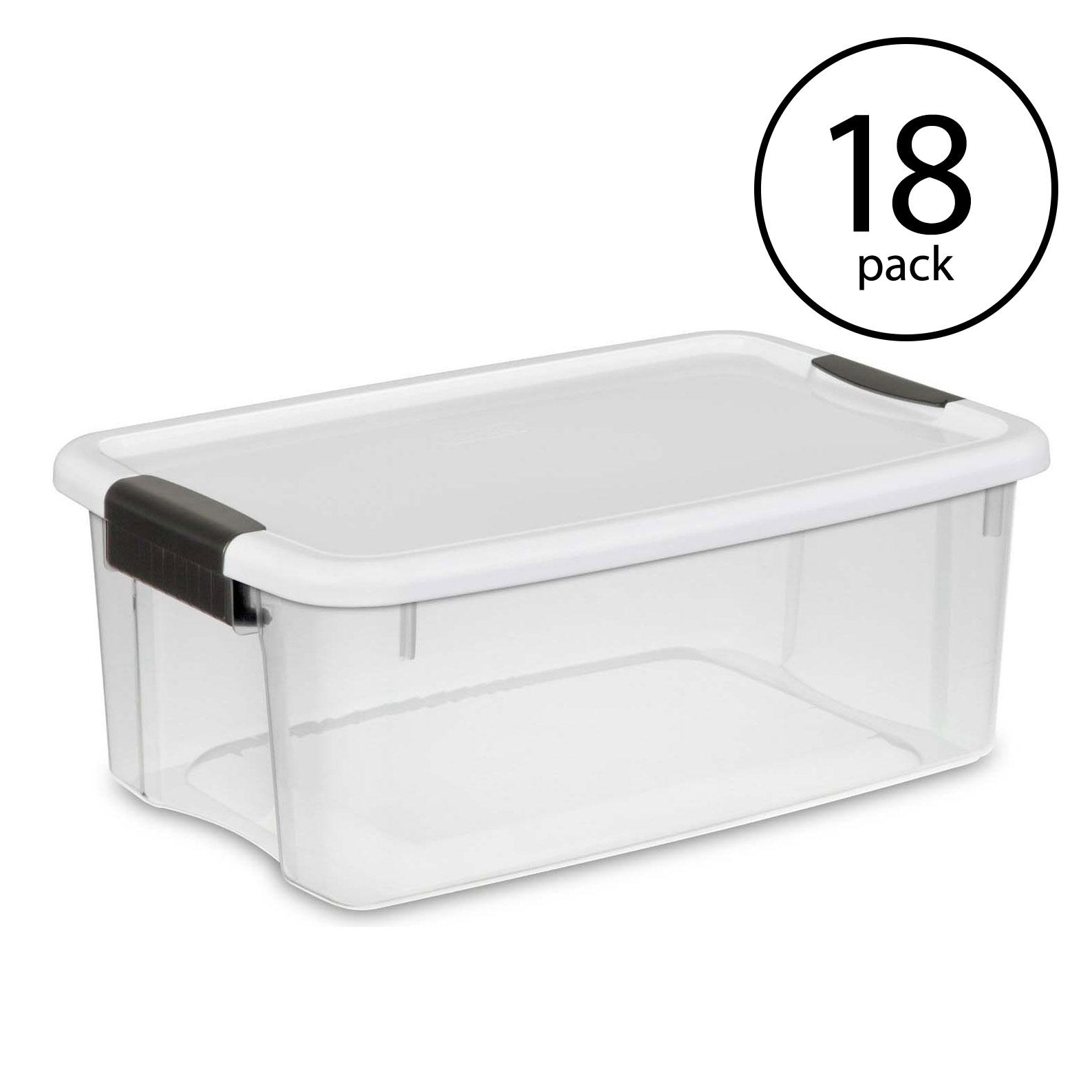 4-Pk Sterilite 70 Quart Ultra Latch Storage Box Open Box White Lid