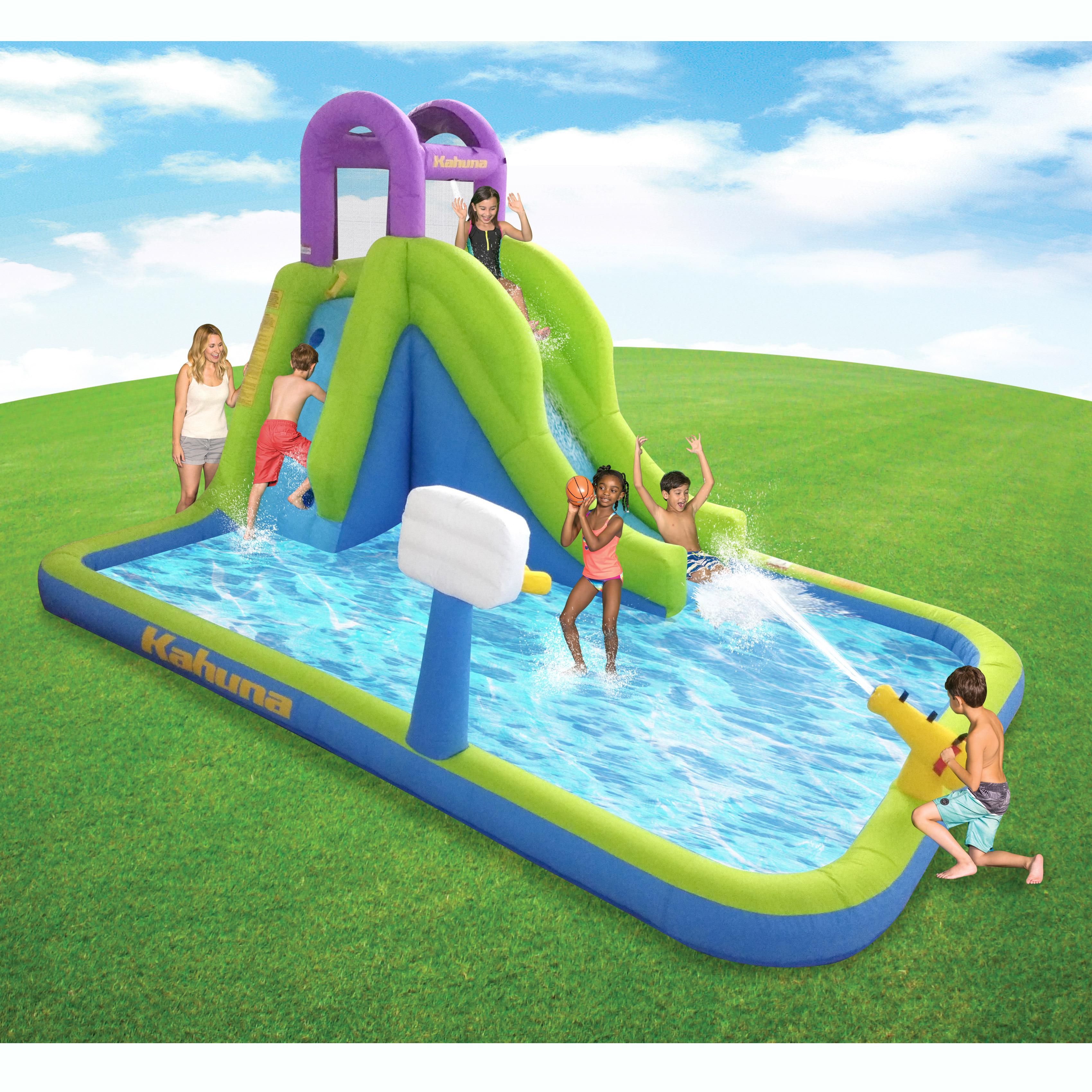Backyard pool with slides Luxury Image Is Loading Kahunatornadotowerinflatableoutdoorbackyardkiddie Pool Ebay Kahuna Tornado Tower Inflatable Outdoor Backyard Kiddie Pool Slide