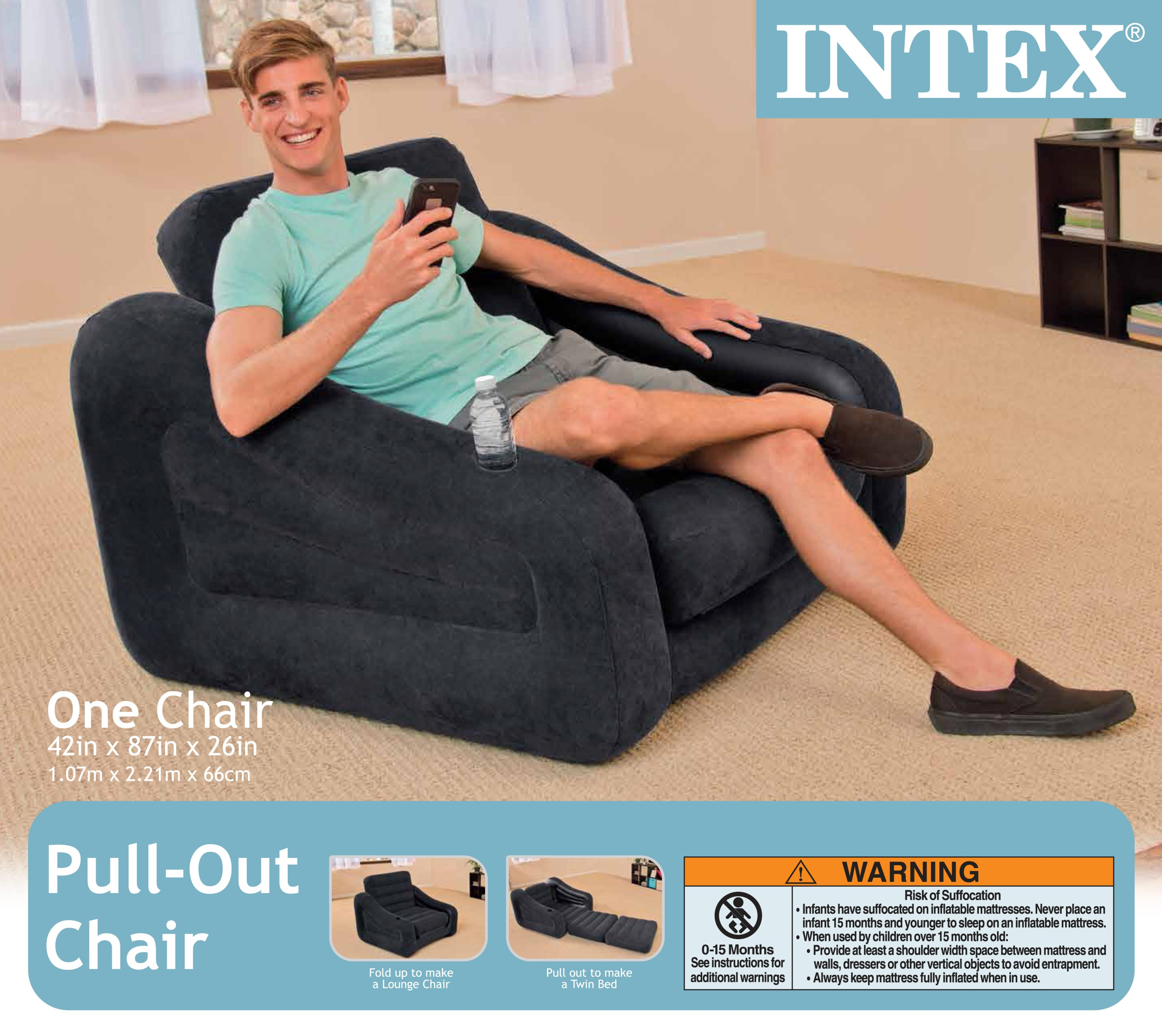 intex inflatable pull out chair and twin bed air mattress sleeper