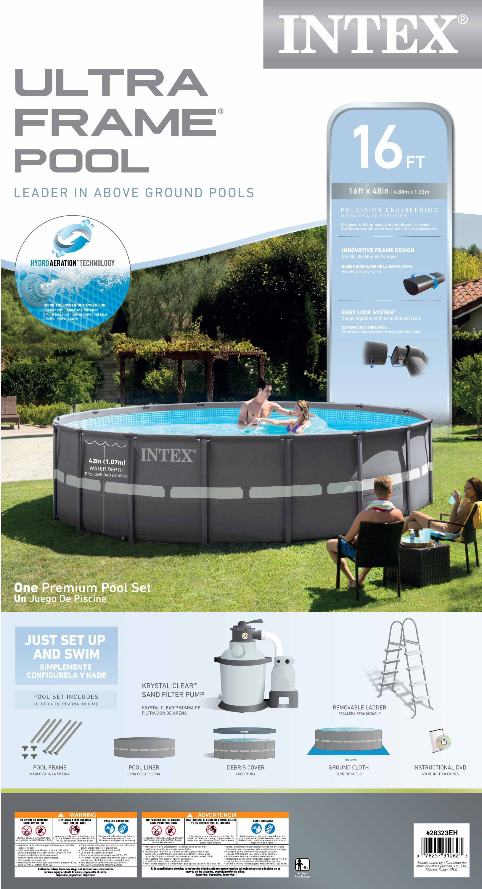 Intex 16 39 x 48 ultra frame swimming pool set w 1200 gph sand filter pump ebay - Intex pool set aldi ...