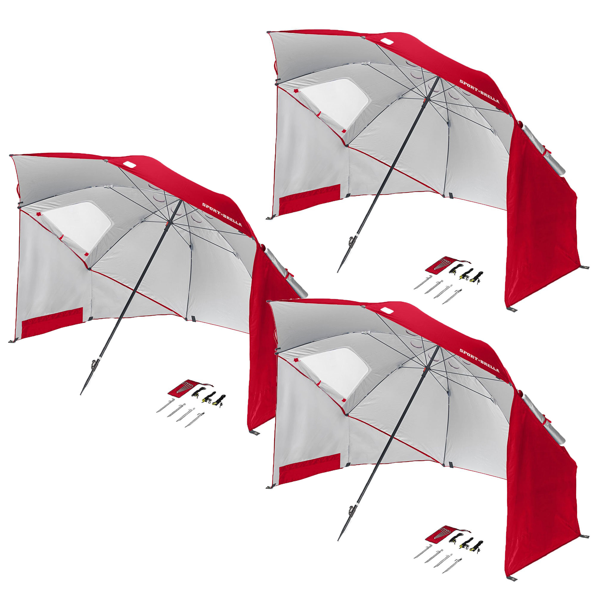 4 Pack Sport Brella 8 Foot Portable Sun Tent Shelter Umbrella Canopy Red