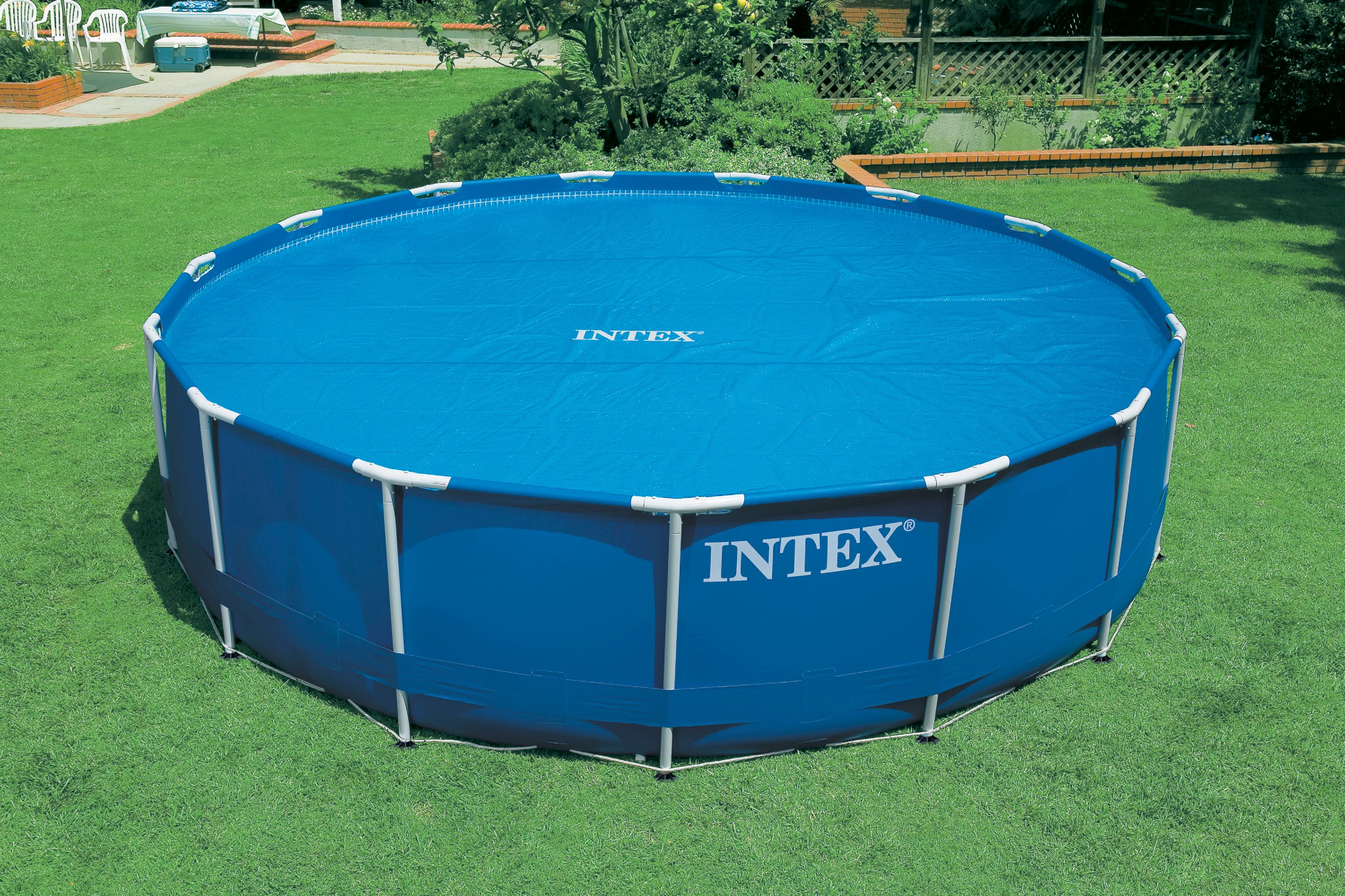 intex 15 foot round easy set vinyl solar cover for. Black Bedroom Furniture Sets. Home Design Ideas