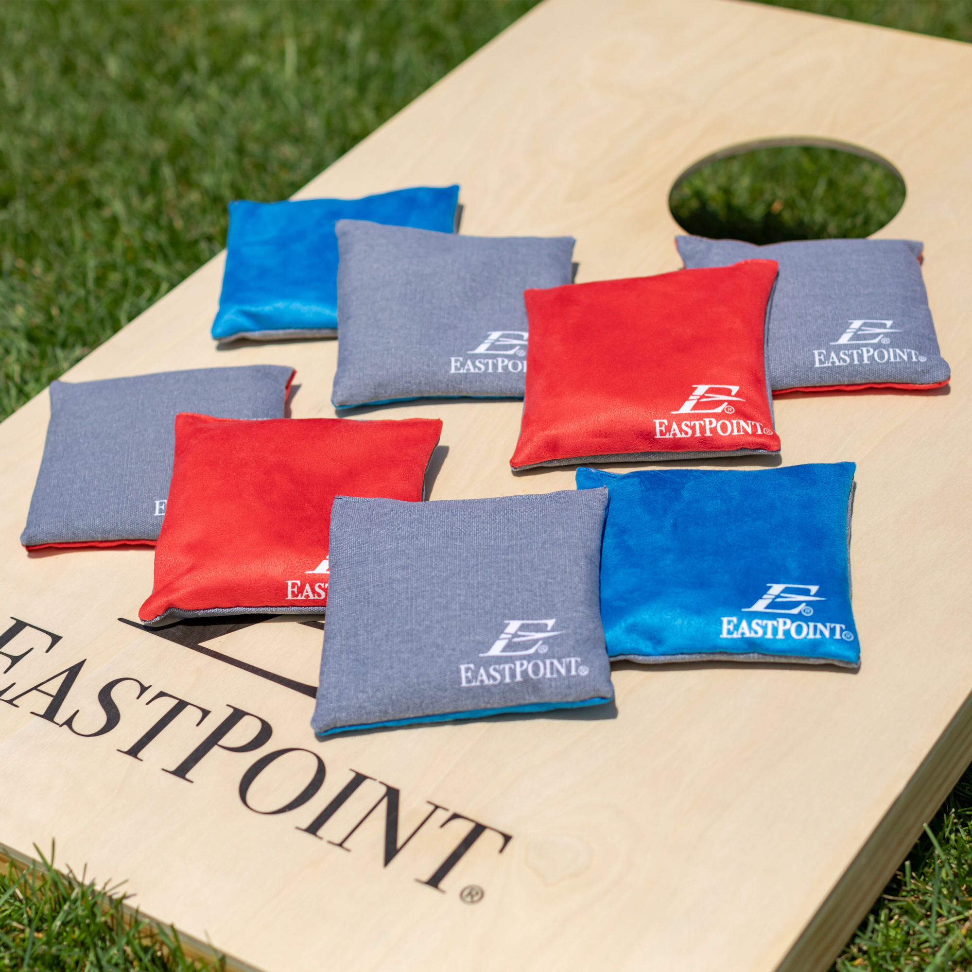 EastPoint Sports Solid Wood Bean Bag Toss Cornhole Yard Game Board Set with  Bags