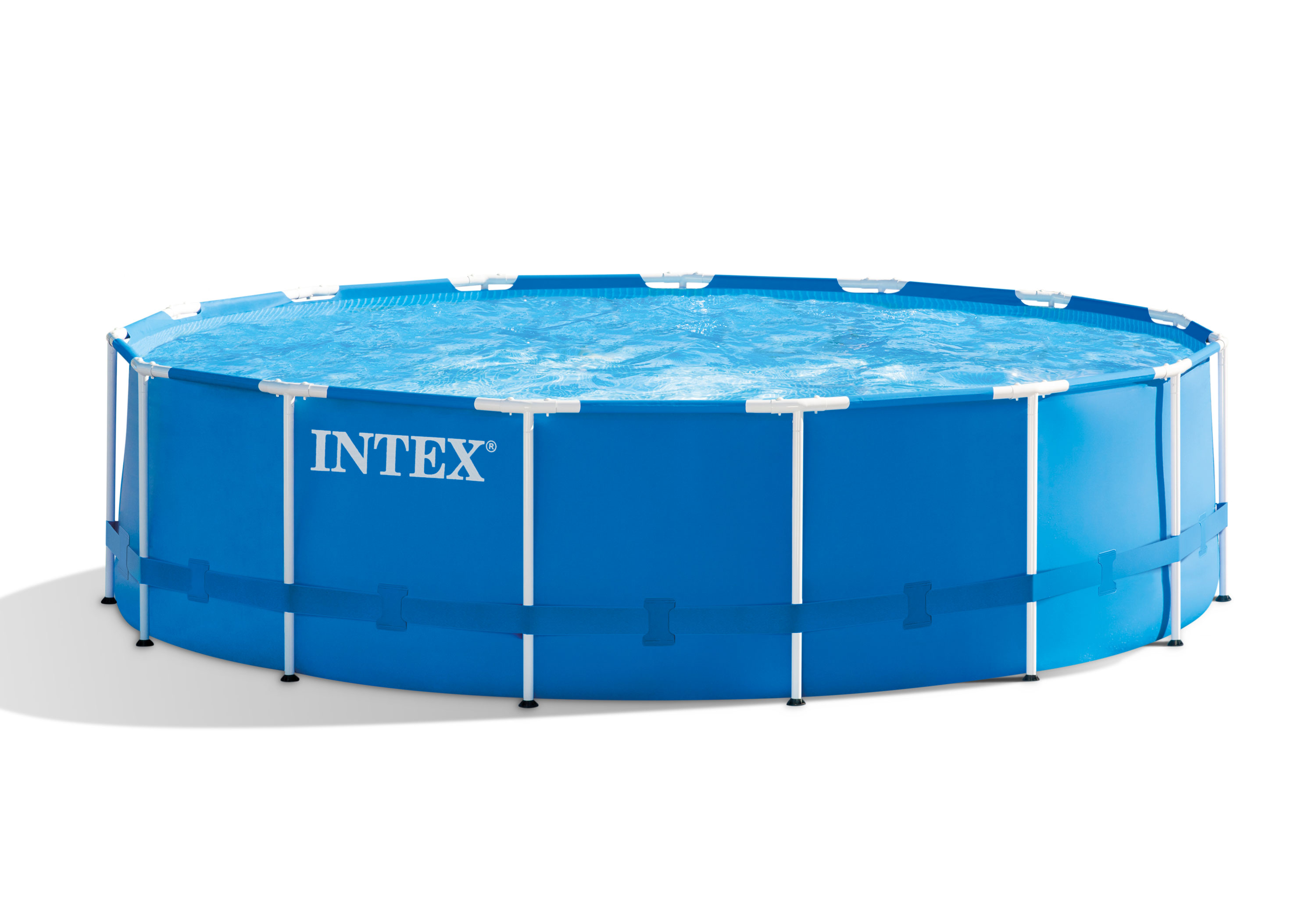 intex 15 39 x 48 metal frame swimming pool set w pump and. Black Bedroom Furniture Sets. Home Design Ideas