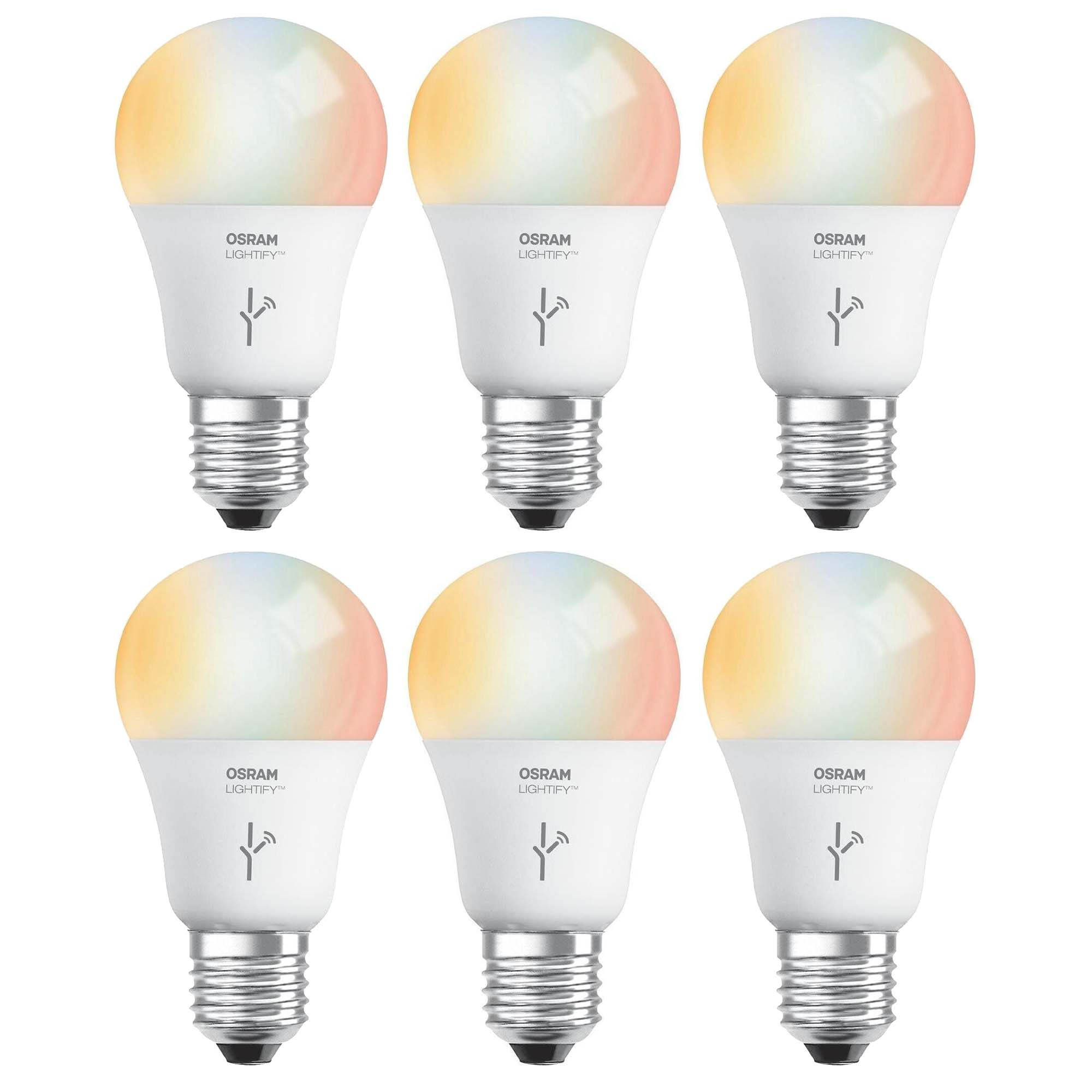 Sylvania osram lightify 60w a19 daylight rgb smart led light bulb 6 pack Smart light bulbs