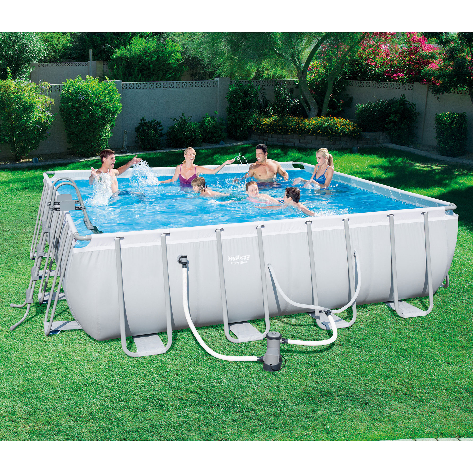 bestway 16 x 48 square frame above ground pool set with ladder and filter pump - Square Above Ground Pool