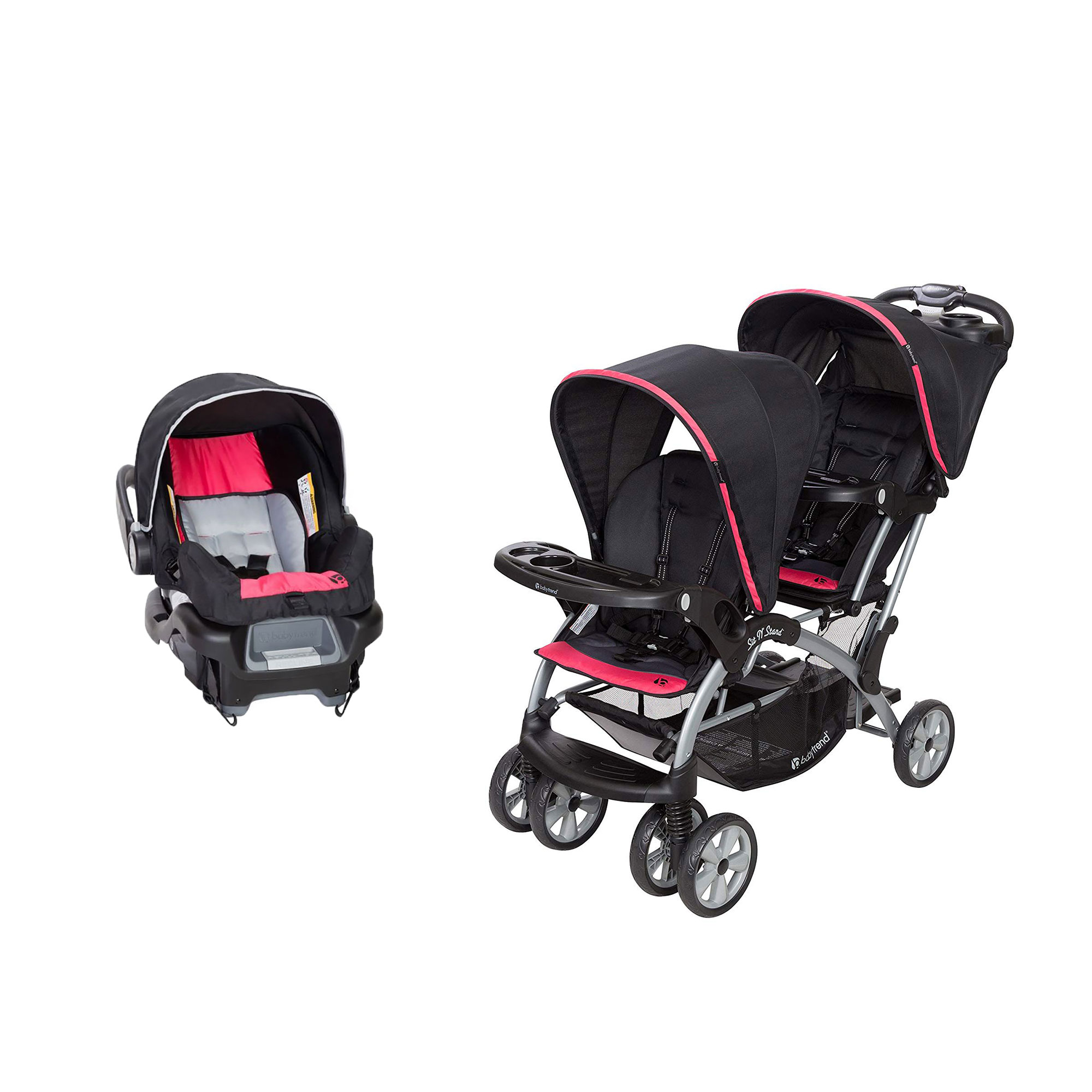 Details About Baby Trend Double Sit N Stand Stroller System And Travel Car Seat Optic Pink