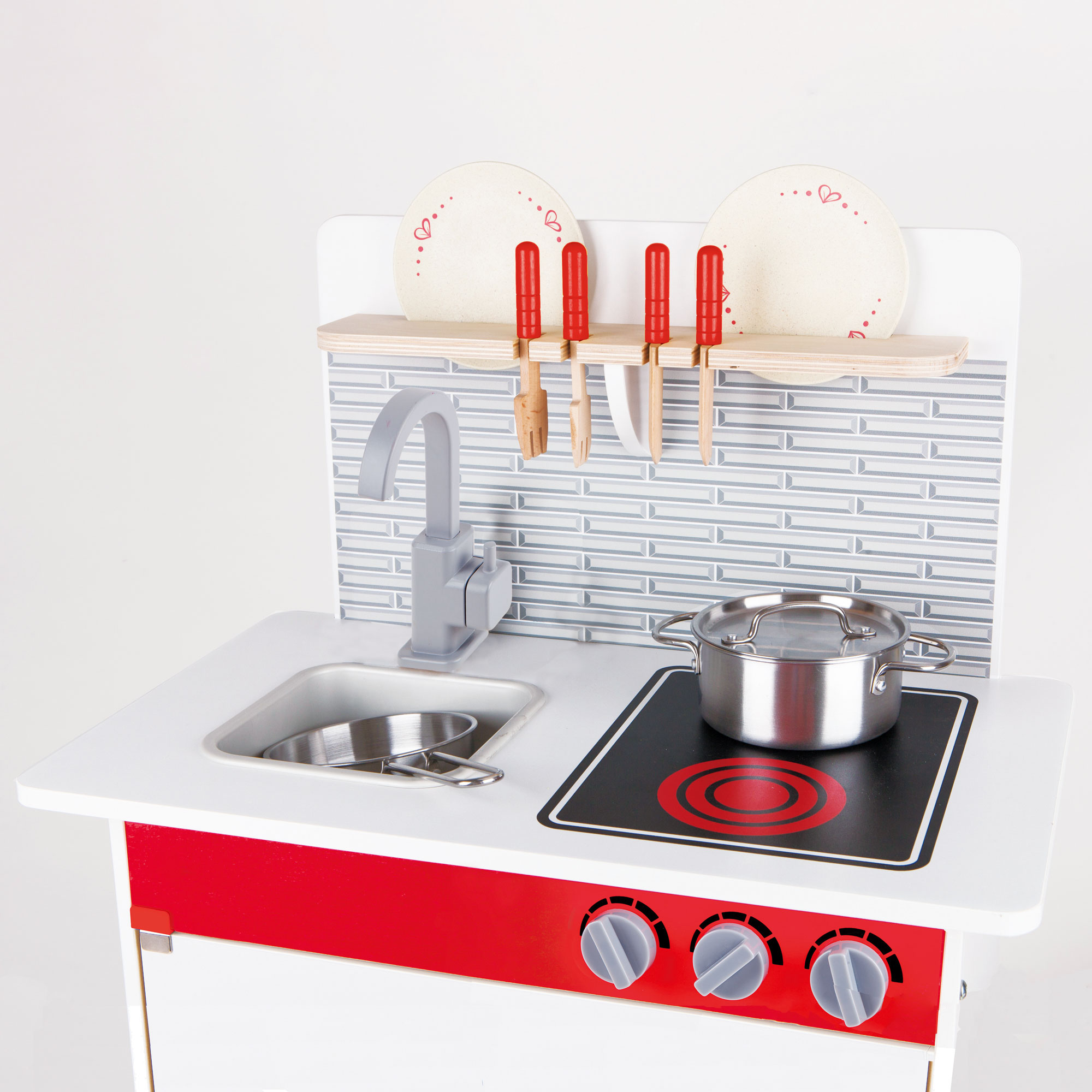 Hape wooden city cafe pretend cooking play kitchen set for Toddler kitchen set