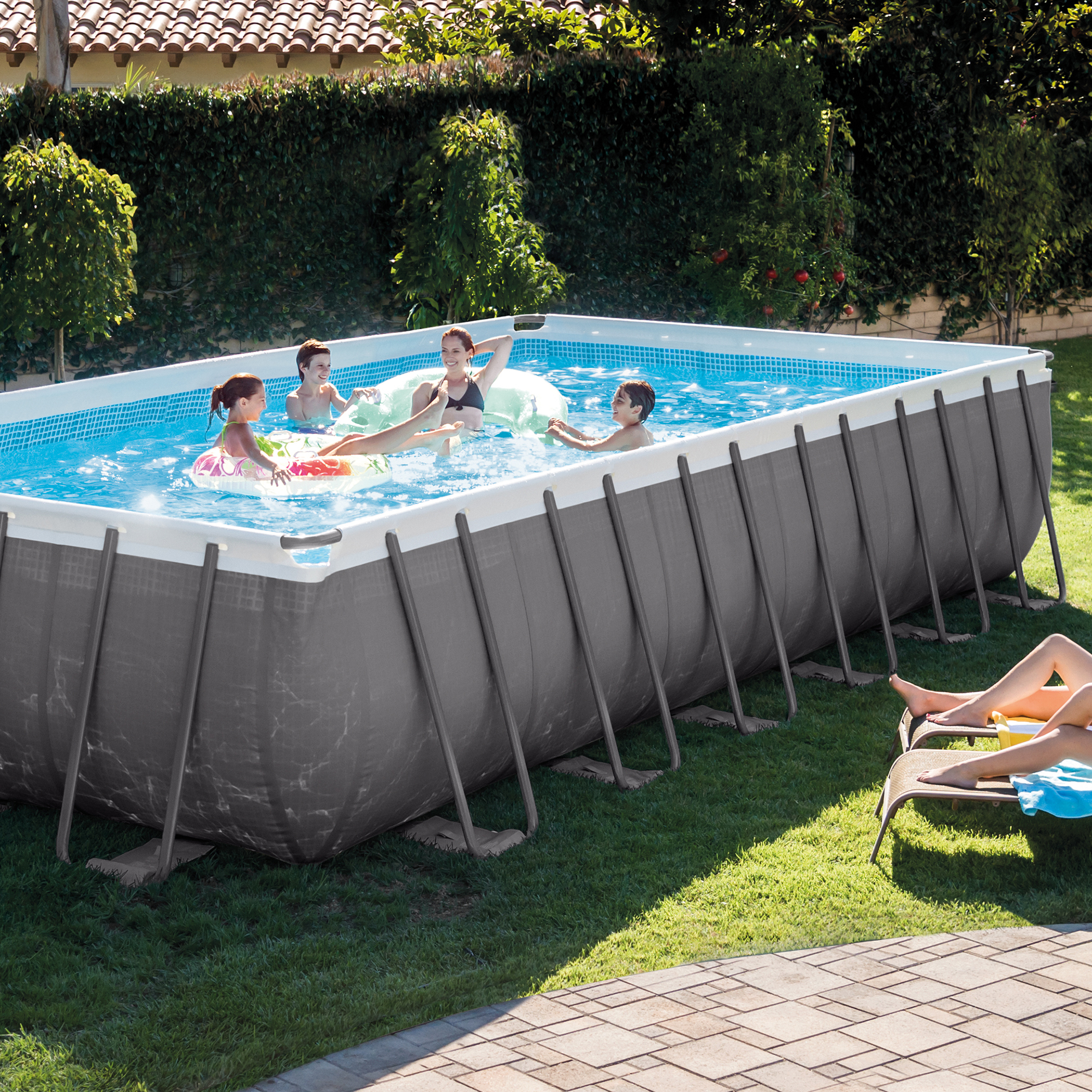 Intex 24 39 x 12 39 x 52 ultra frame rectangular swimming for Square above ground pool