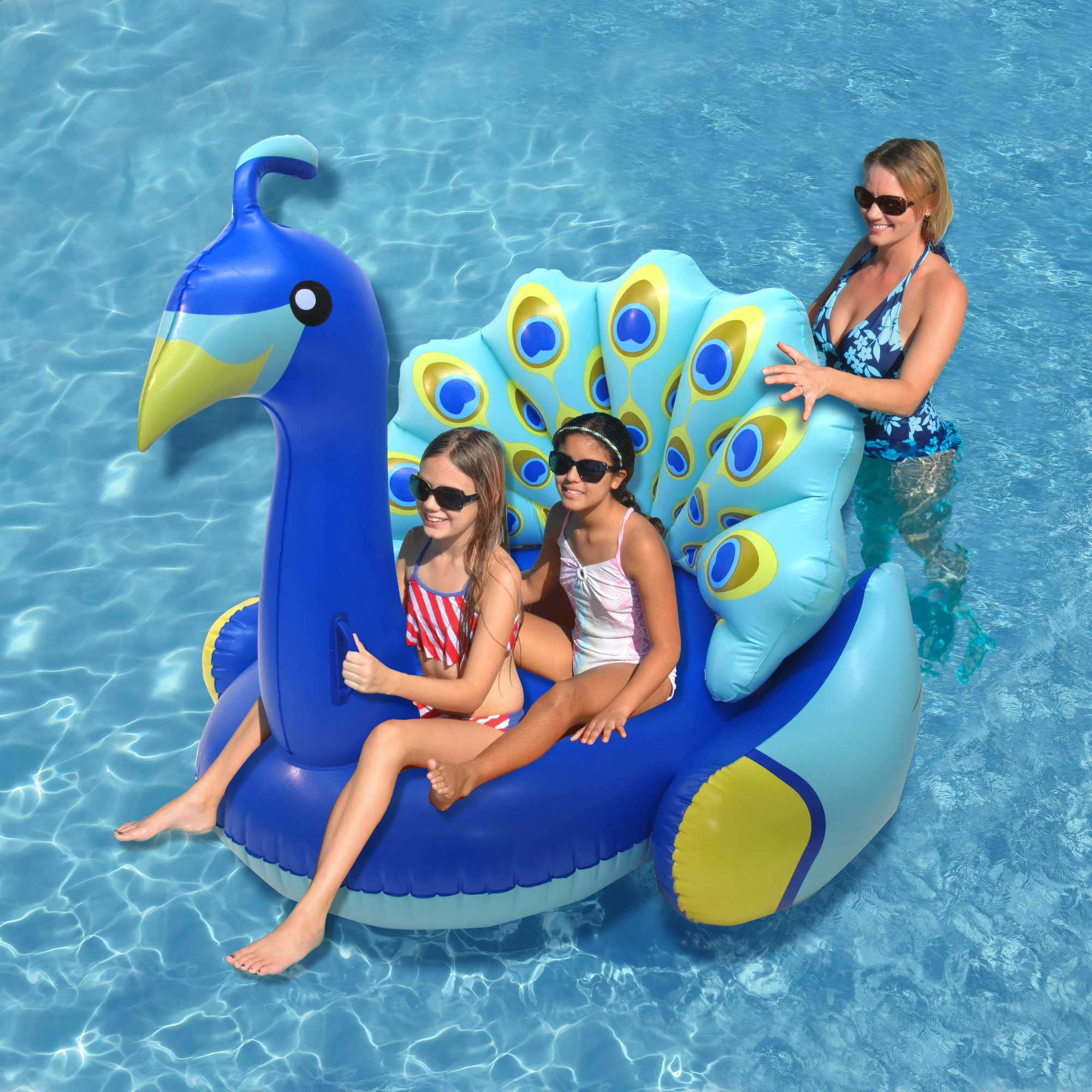 Swimline giant inflatable colorful peacock swimming pool for Chicken in swimming pool