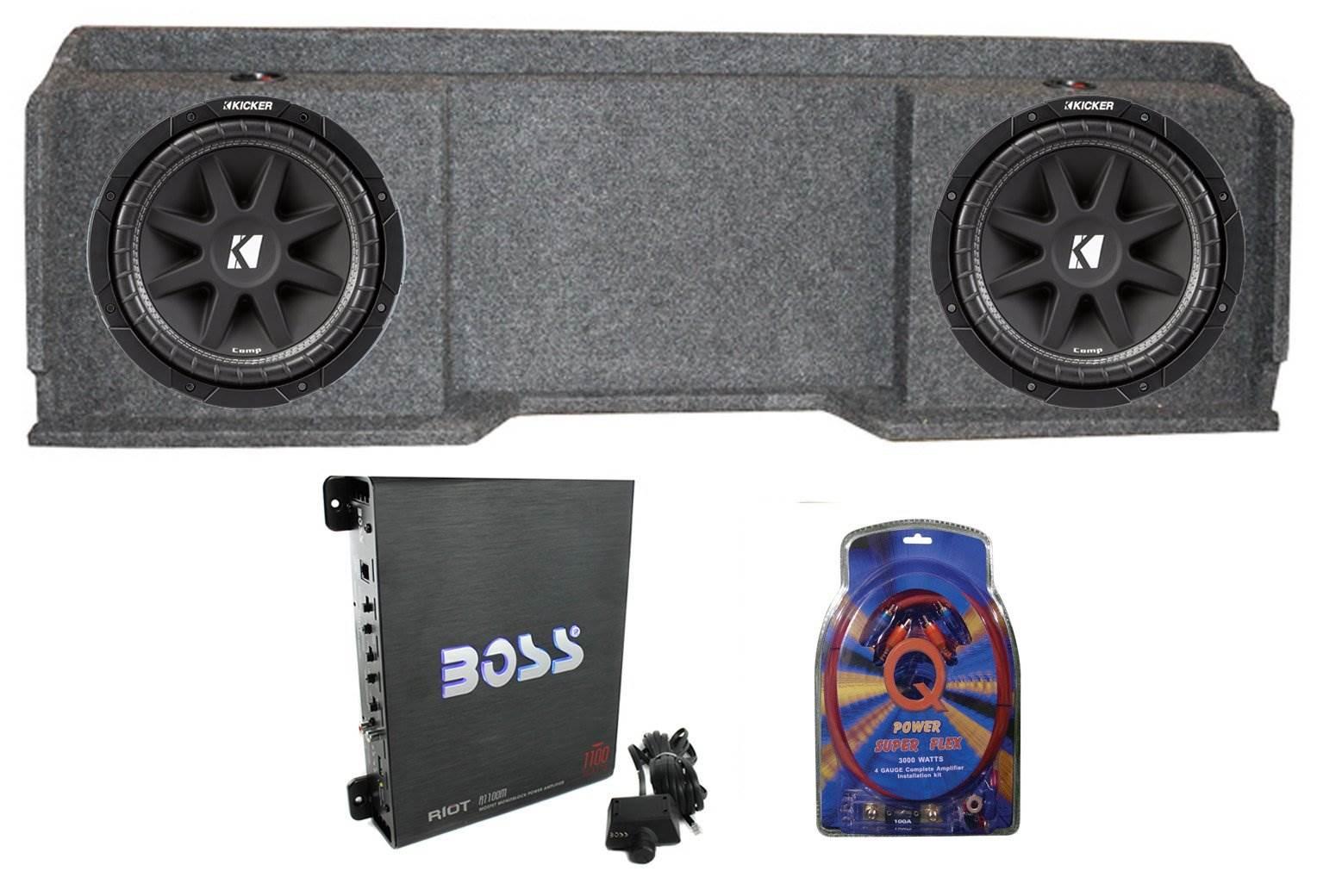 Amplifier+Amp Kit KICKER 43TC104 Comp 10 Subwoofer in Sub Box Enclosure+2-Ch