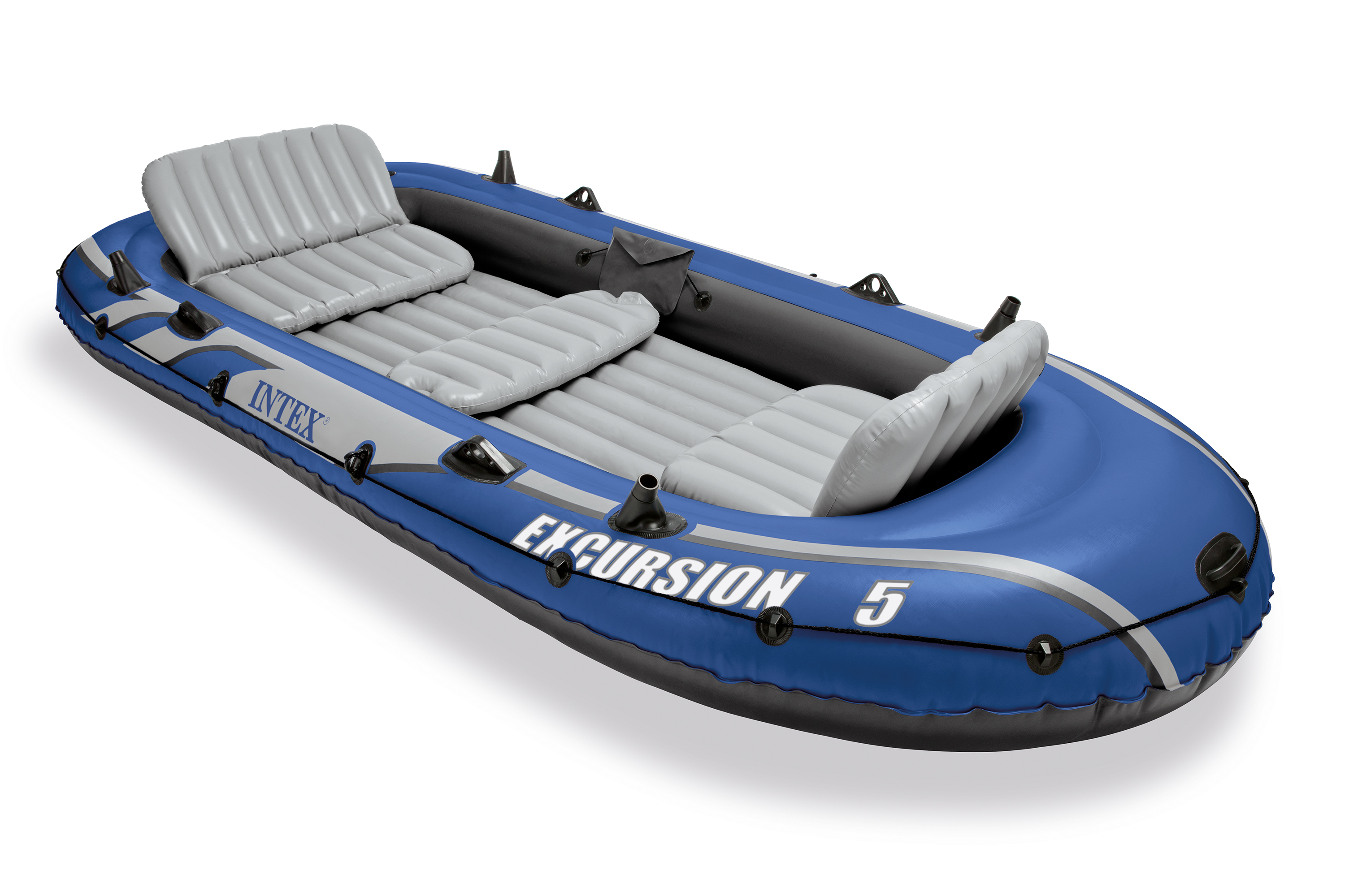 Intex excursion 5 person inflatable fishing boat set with for Wood floor intex excursion 5
