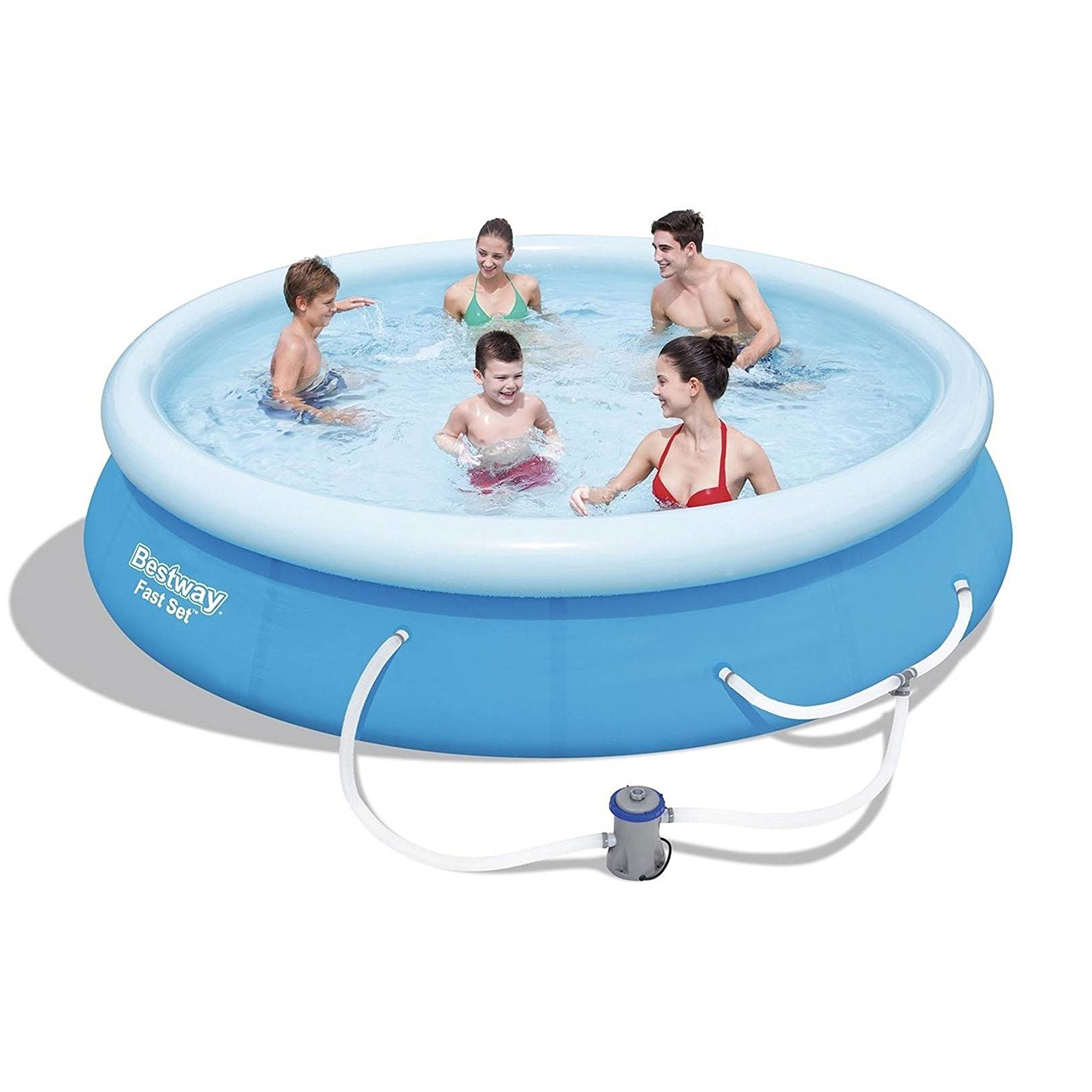 Details about Bestway 12 Feet x 30 Inches Fast Set Inflatable Above Ground  Pool w/ Filter Pump