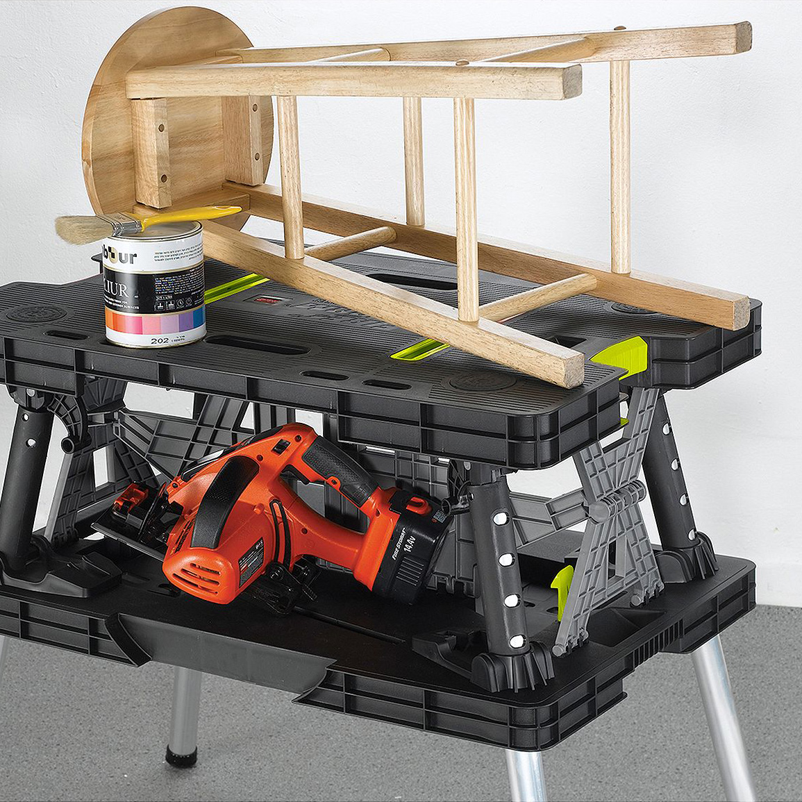 Keter compact portable folding garage workbench work table