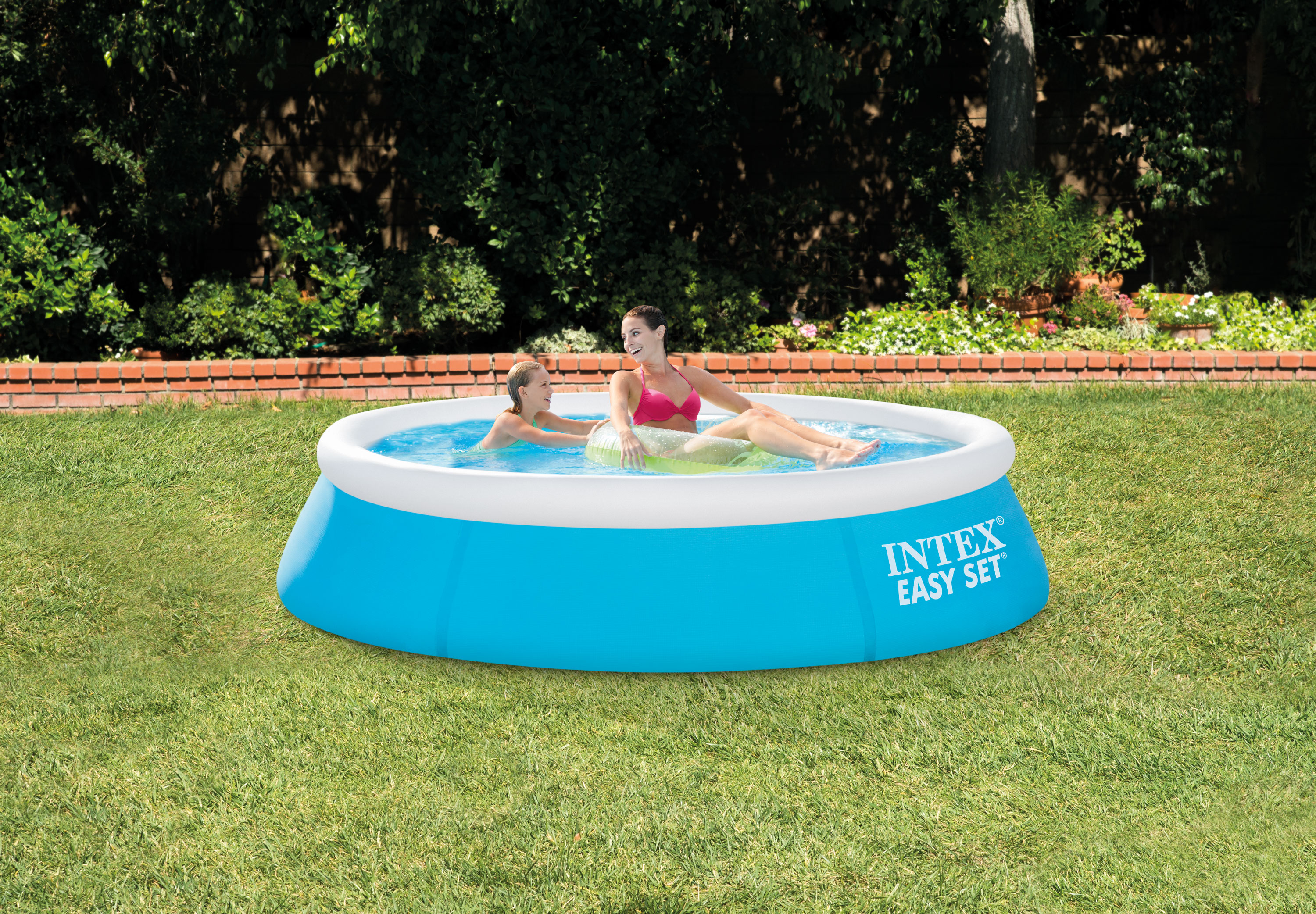 Intex 6 39 x 20 easy set inflatable swimming pool aqua for Piscine gonflable intex easy set