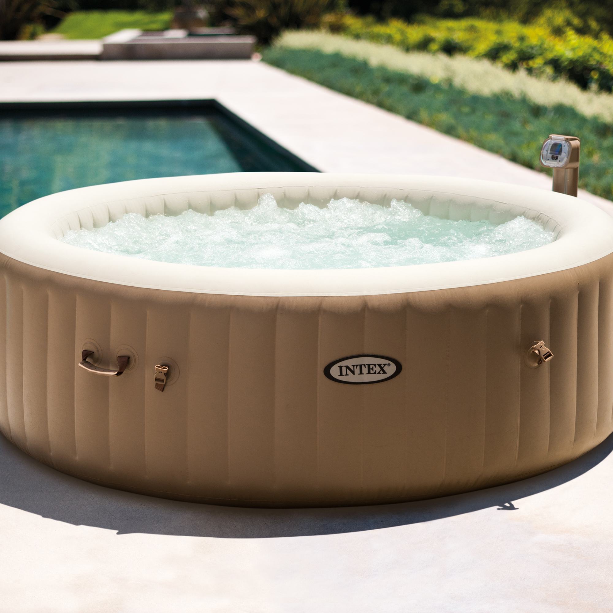 Intex inflatable pure spa 6 person portable heated bubble for Types of hot tubs