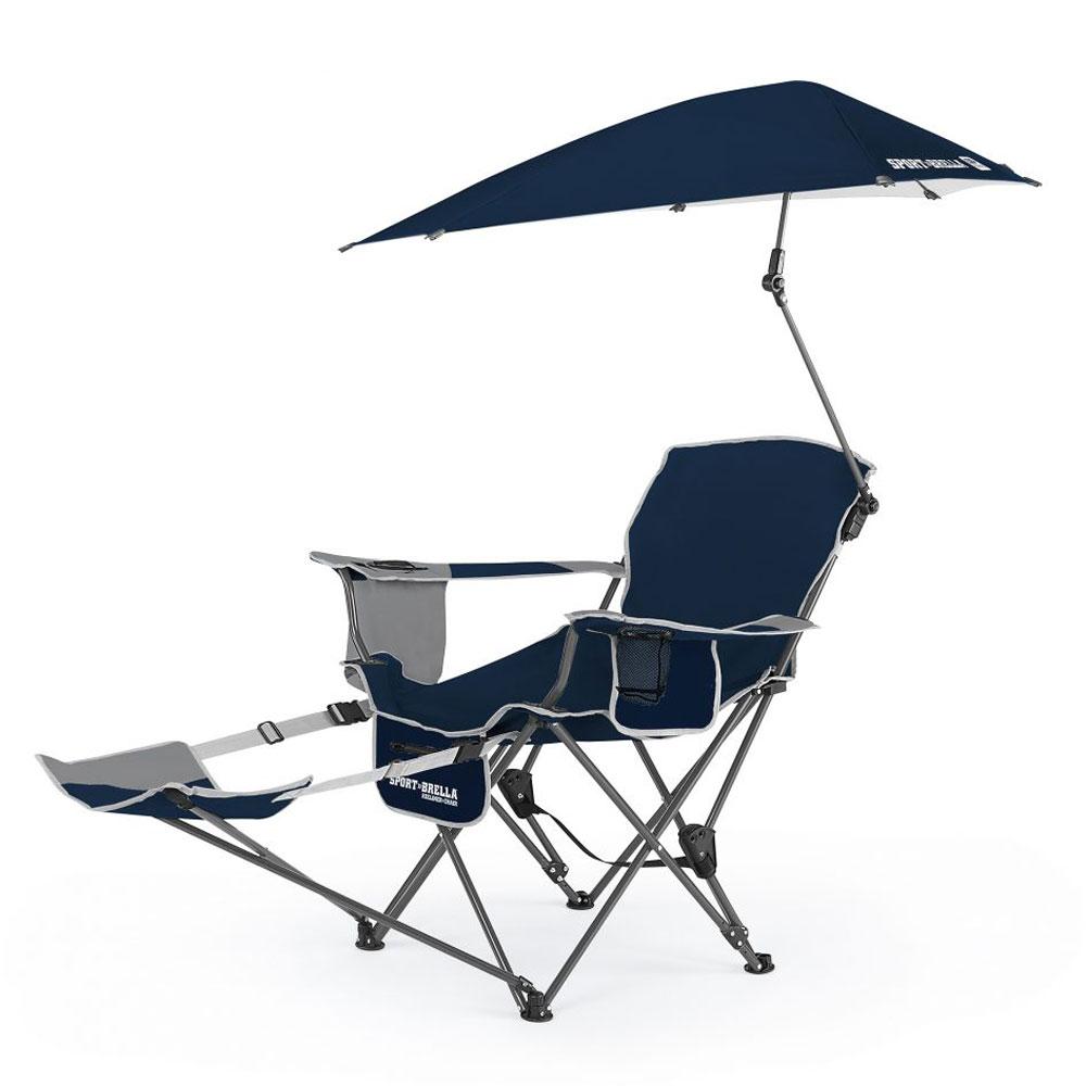 Sport Brella Portable Sun Shelter Weather Umbrella Recliner Folding Chair Blue