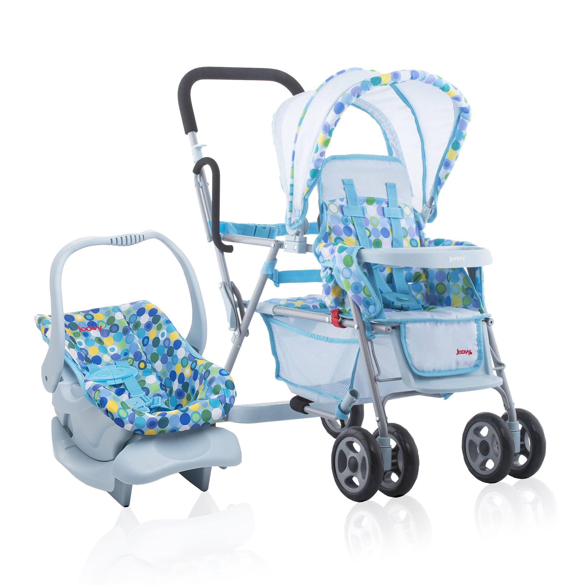 Joovy 3 Toy Doll Caboose Pretend Play Children Stroller Car Seat Blue Dot