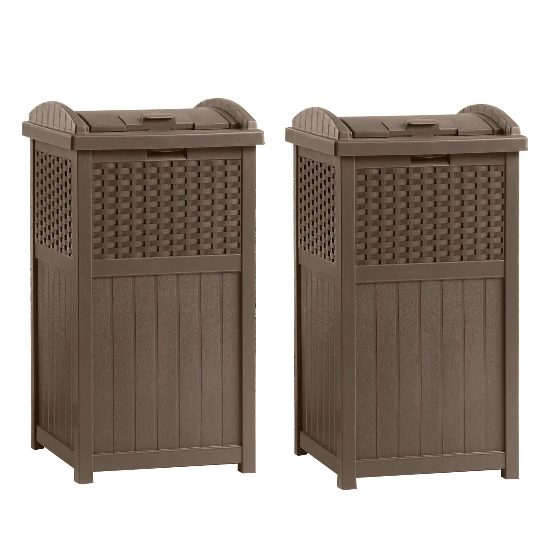 Details About Suncast Ghw1732 Home Outdoor Patio Resin Wicker Trash Can Hideaway 2 Pack