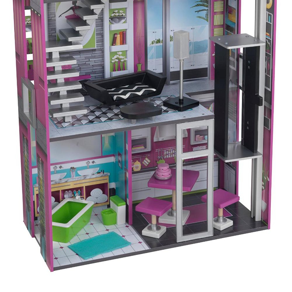 Kidkraft Glamorous Stylish And Modern Wooden Dollhouse With Furniture 65192 Ebay