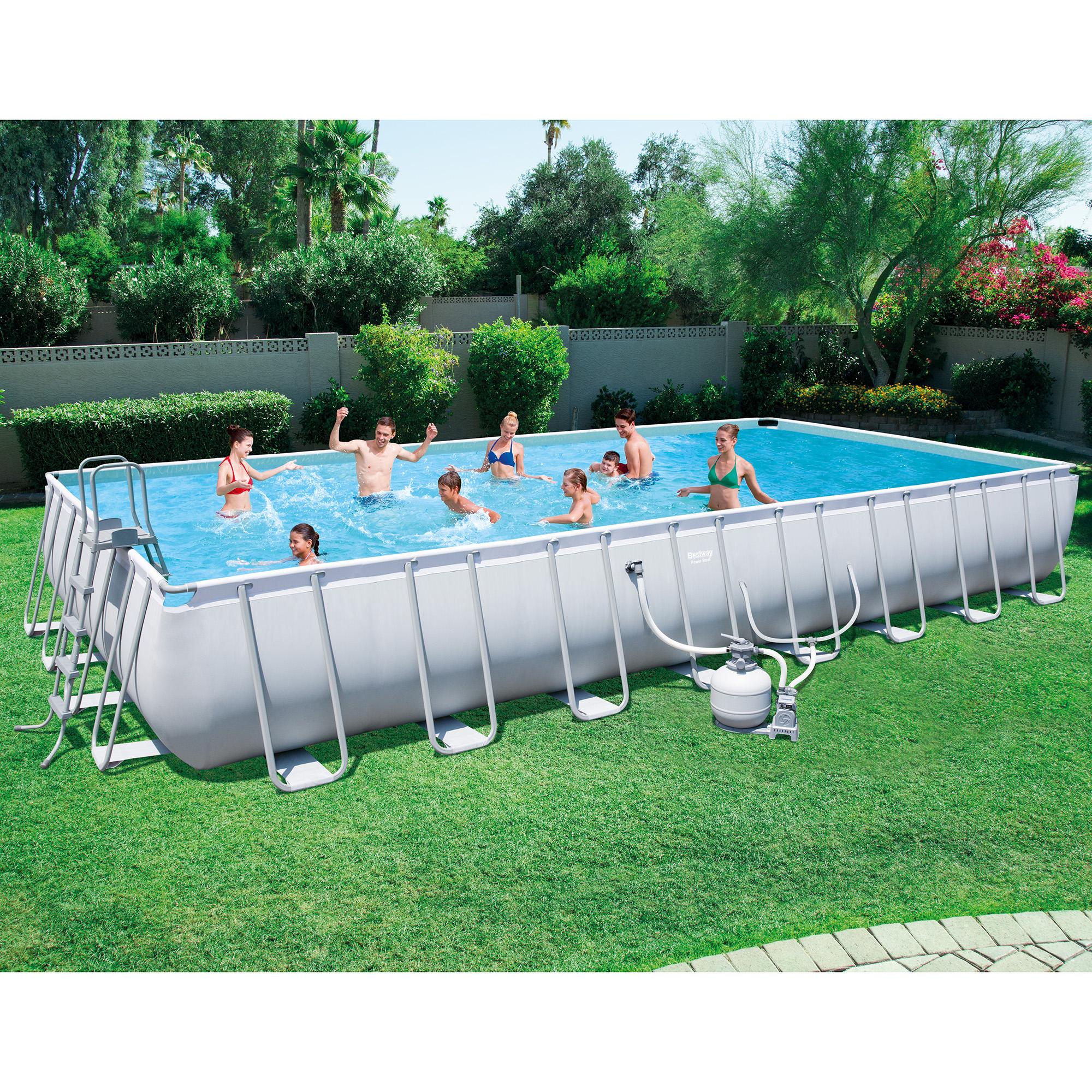 bestway 313x16x52 rectangular frame above ground pool set with ladder pump