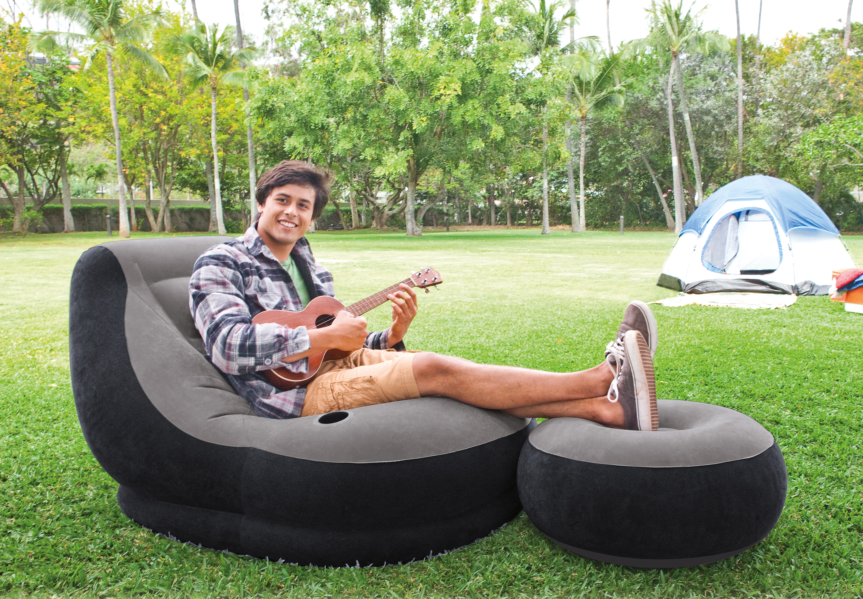 intex inflatable lounge chair. Intex Inflatable Ultra Lounge Chair With Cup Holder And Ottoman Set | 68564E O