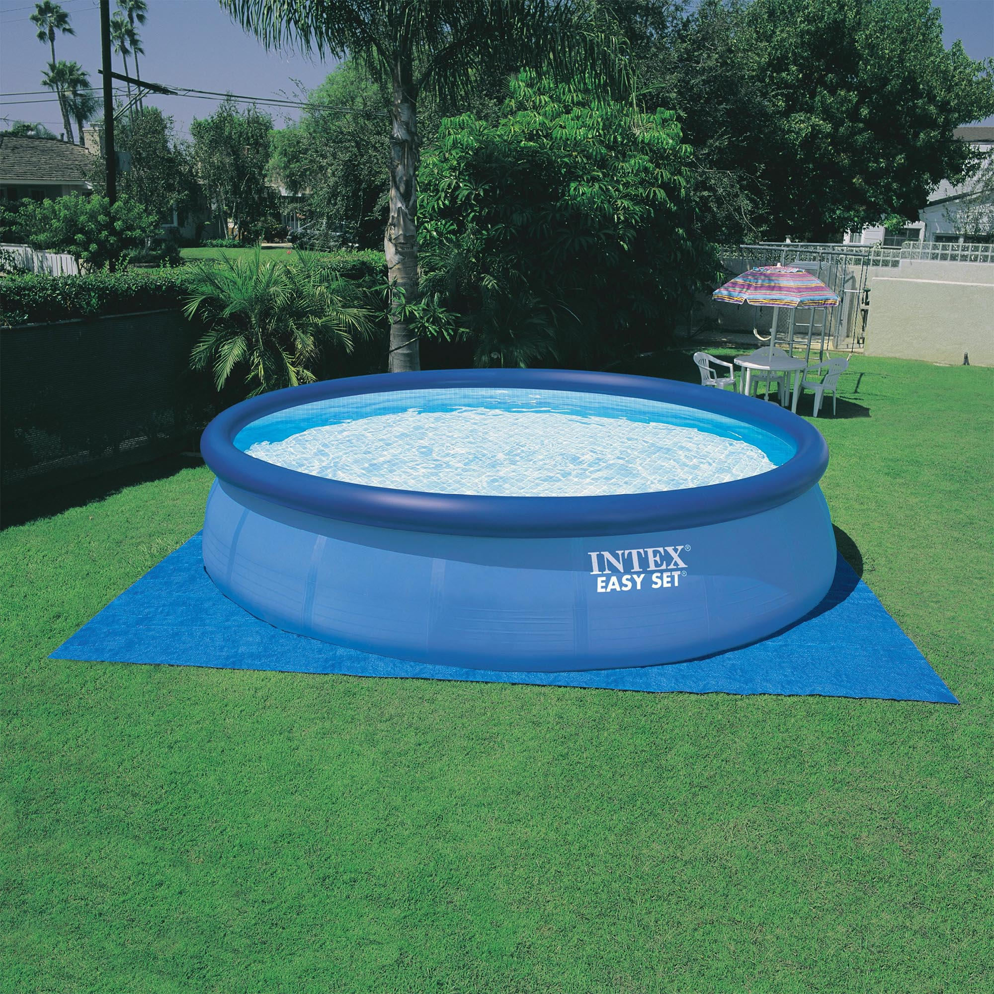Intex 15 39 X 42 Inflatable Easy Set Above Ground Swimming Pool W Ladder Pump Ebay