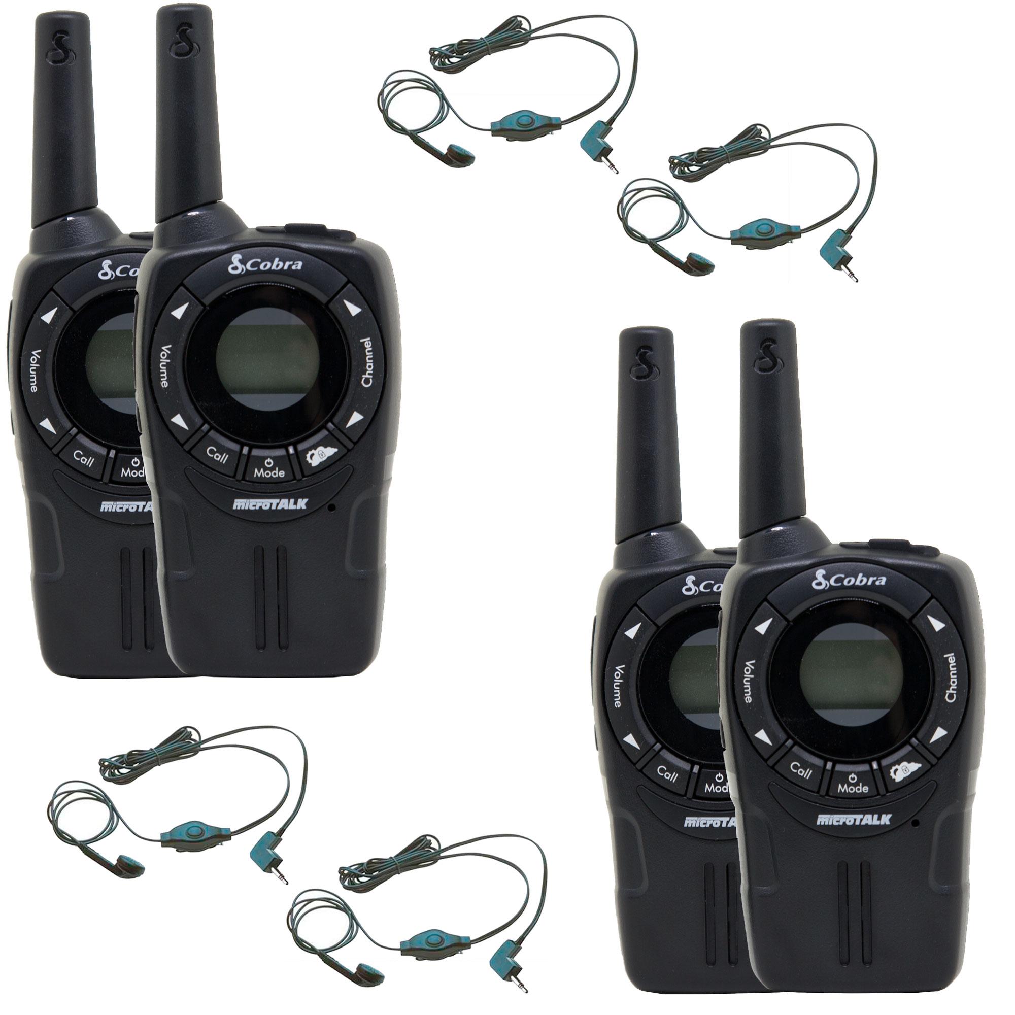(4) NEW COBRA CXT235 MicroTalk 20 Mile Walkie Talkie 2-Way Radios + (4)  Headsets