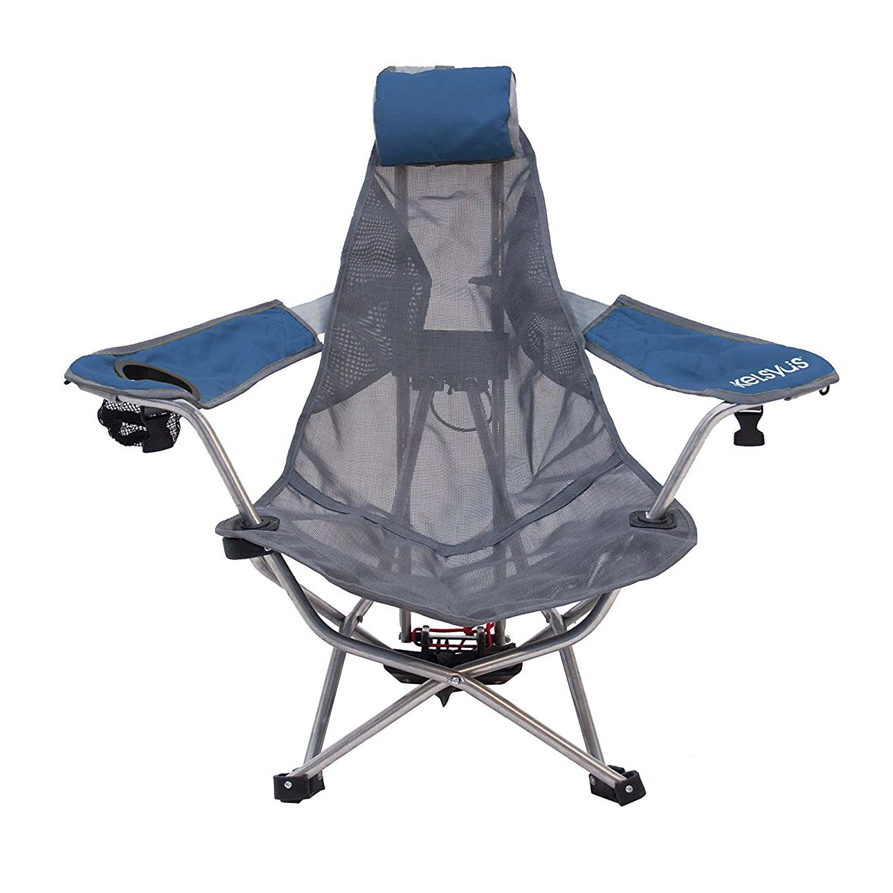 Kelsyus Mesh Folding Backpack Beach Chair With Headrest Blue AND Gray