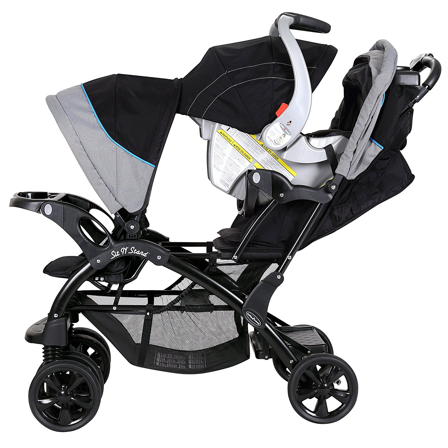 Details Sur Baby Trend Double Ride Sit N Stand Toddler And Baby Stroller Millennium Blue