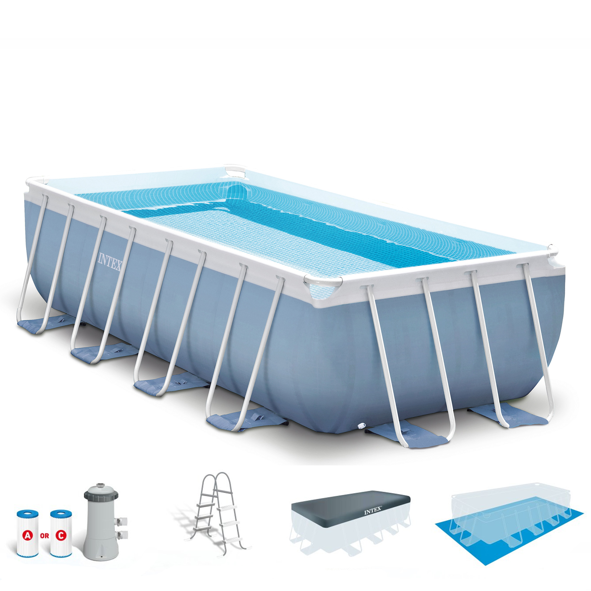 Intex 16 39 x 8 39 x 42 prism frame rectangular above ground swimming pool set ebay for Intex rectangular swimming pool