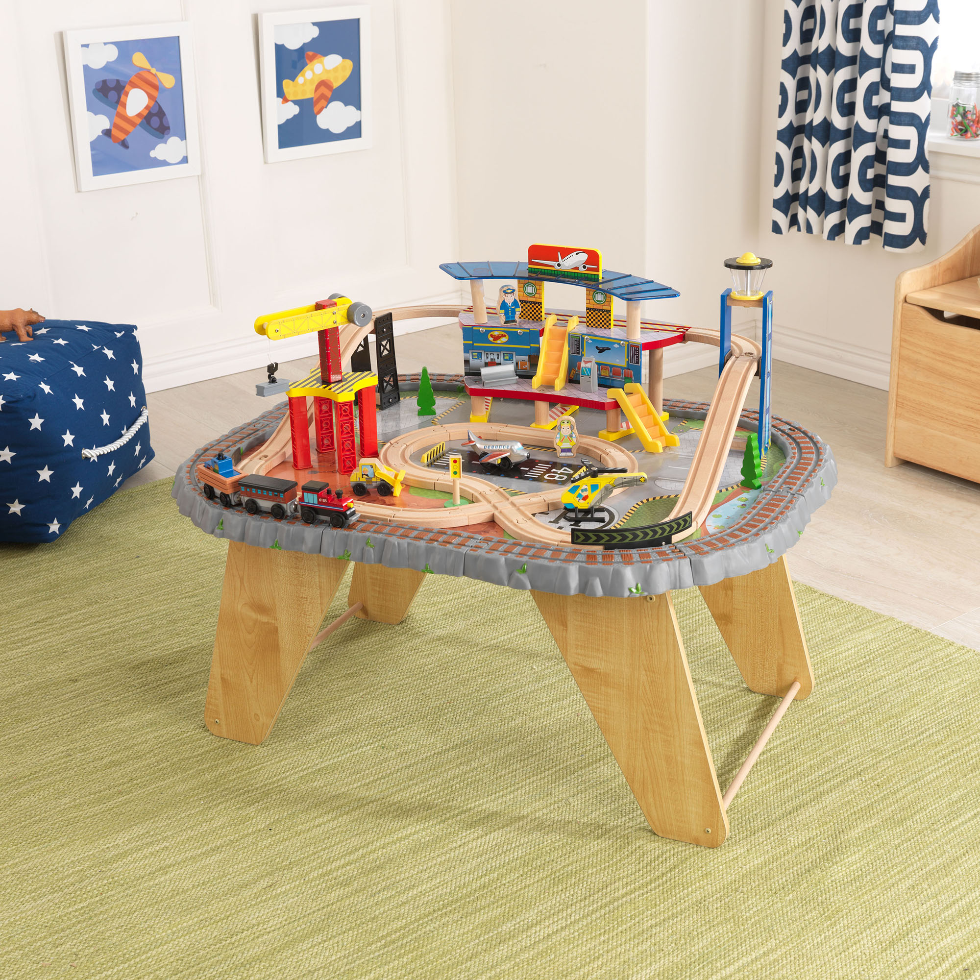 KidKraft Kids 58 Piece Transportation Station Wood Train Play Set