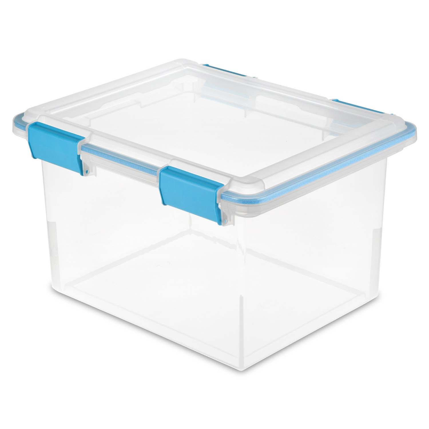 Sterilite 19334304 Clear 32 Quart Gasket Box with Clear Base and Lid 16 Pack
