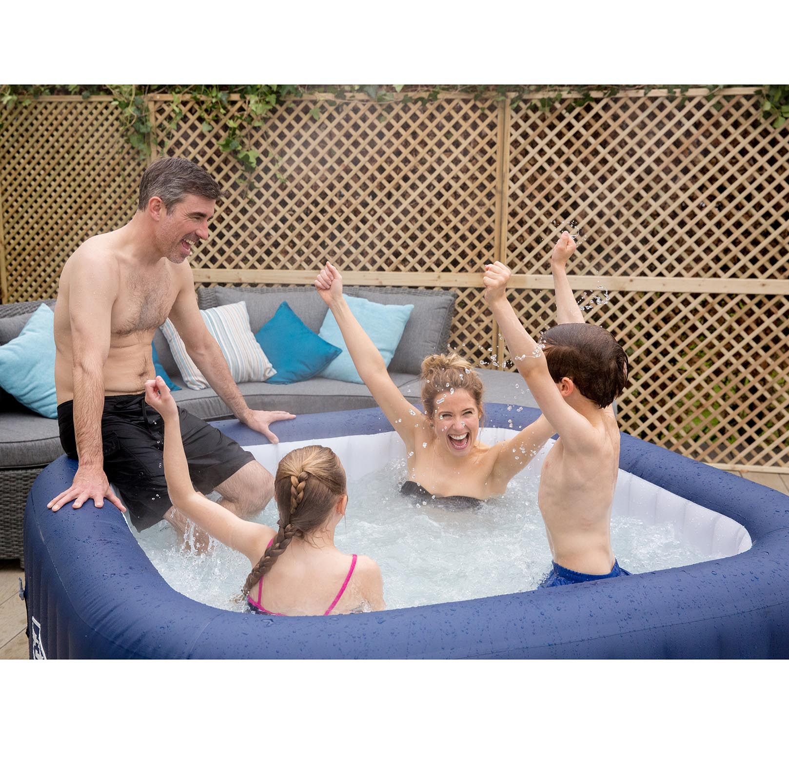 Bestway 6 Person Inflatable Hot Tub + Music Center + 6 Filters + ...