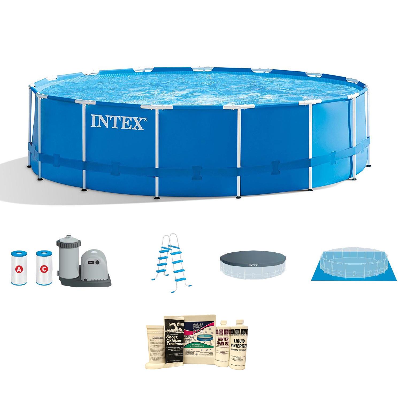 Intex 18\' x 4\' Frame Above Ground Pool w/ Pump, Ladder, Cover ...