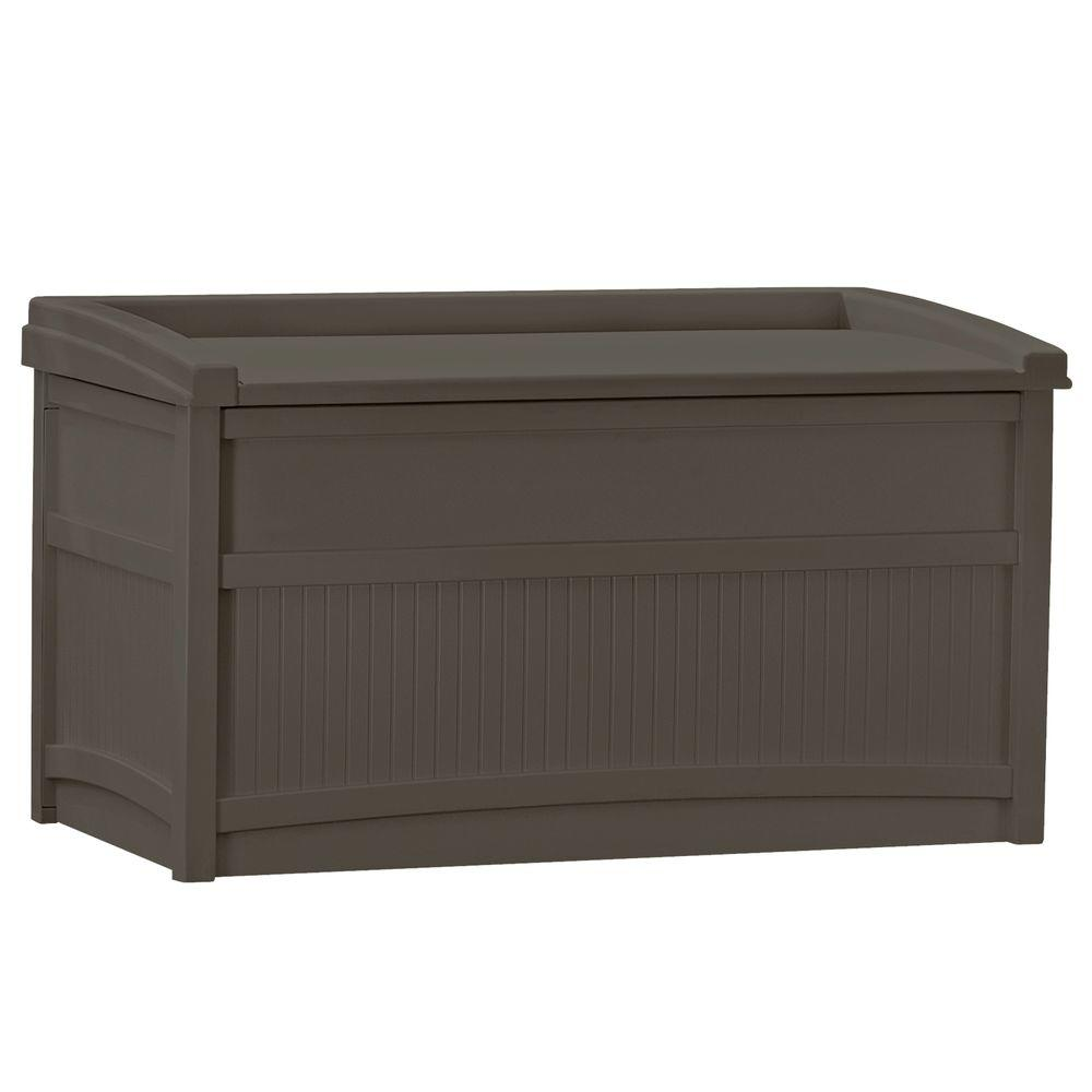 Suncast 50 Gallon Stay Dry Poly Resin Outdoor Deck Storage Box With