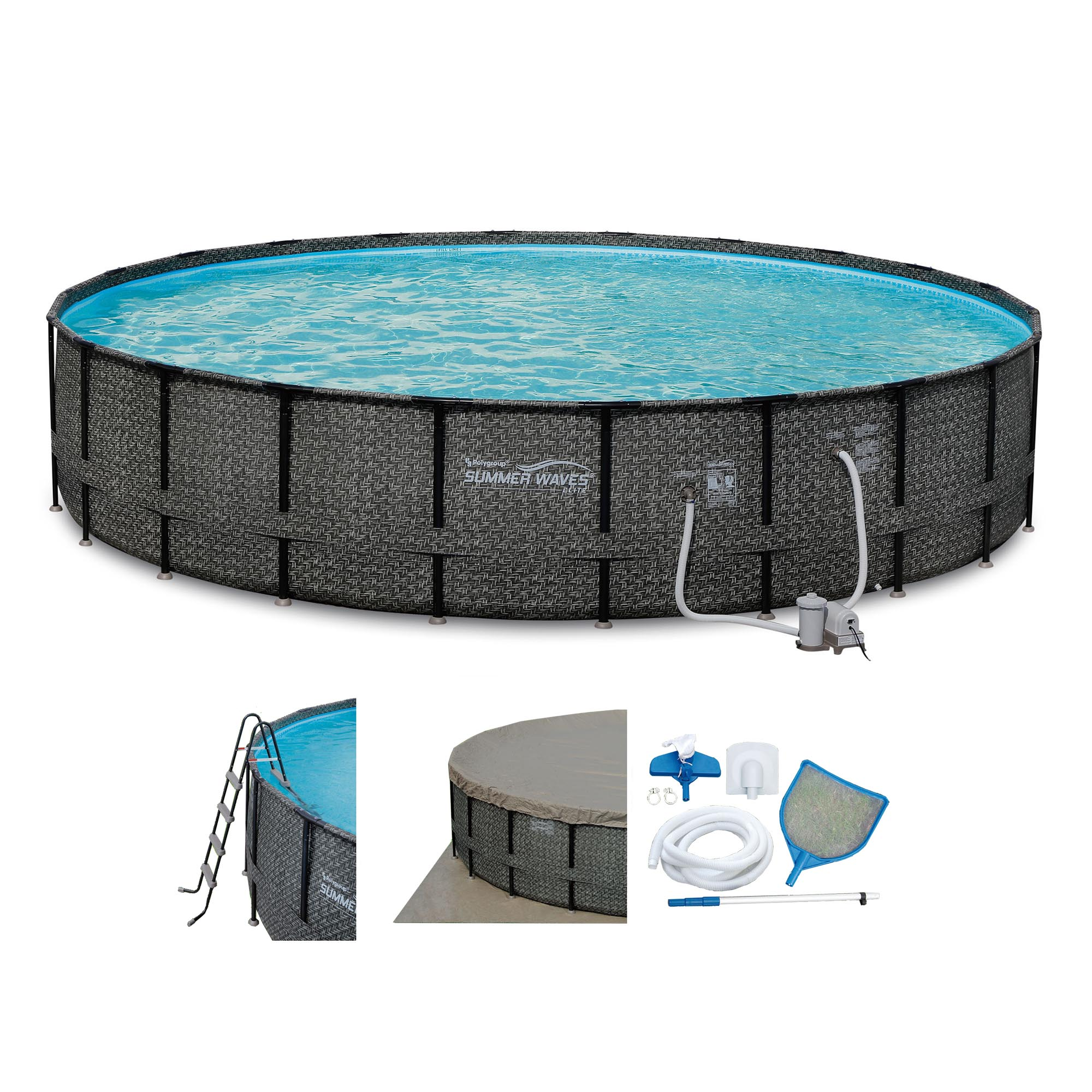 Summer waves elite wicker print 22 39 x 52 above ground for Billige pool sets
