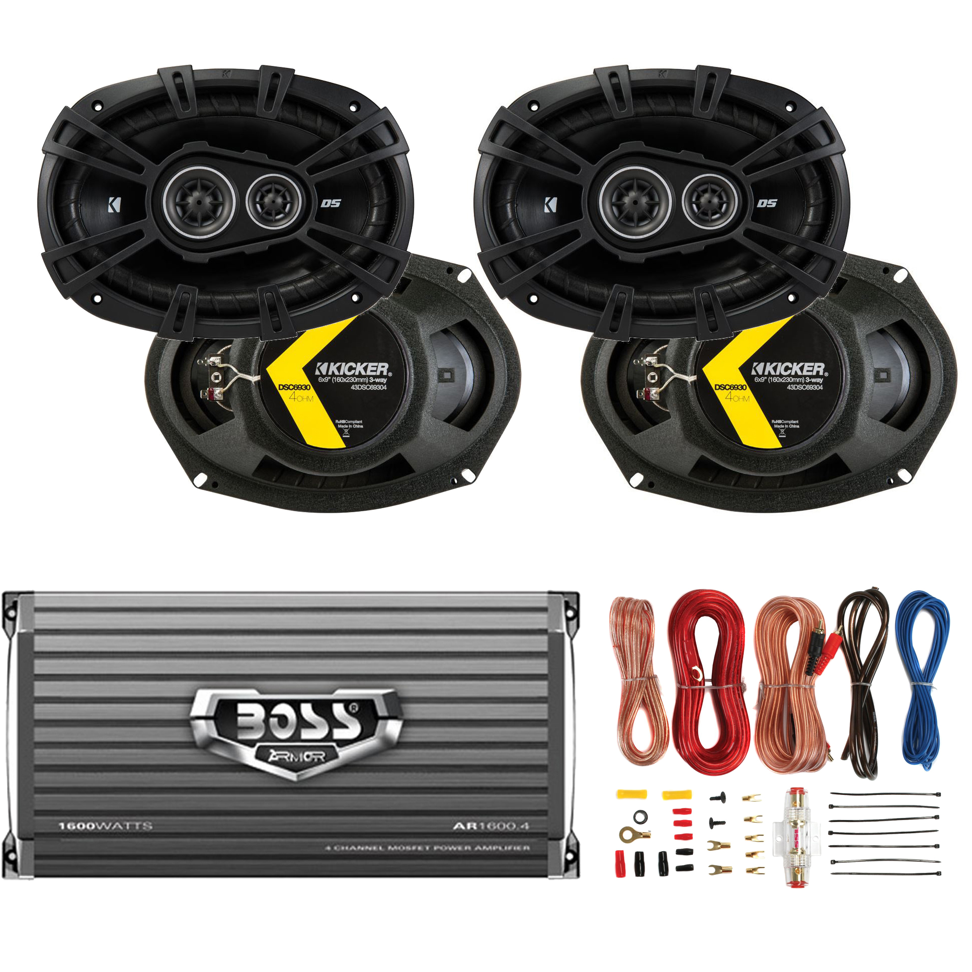 Kicker 6x9 U0026quot  360w Car Speakers  4 Pack    Boss 1600w Amplifier   8 Gauge Wiring