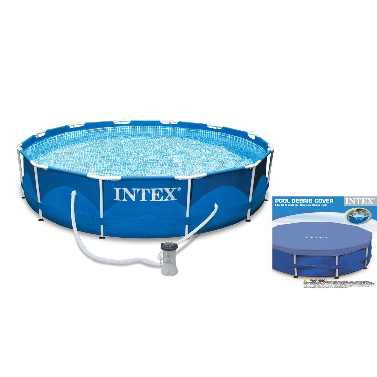Intex 10 X 2 5 Foot Metal Frame Swimming Pool Set W Filter Pump Debris Cover Ebay