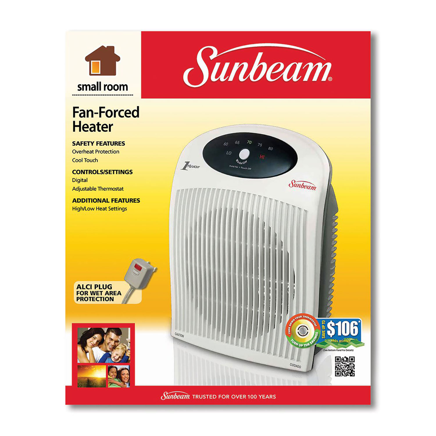 Sunbeam Fan Forced Electronic Portable Heater With Thermostat