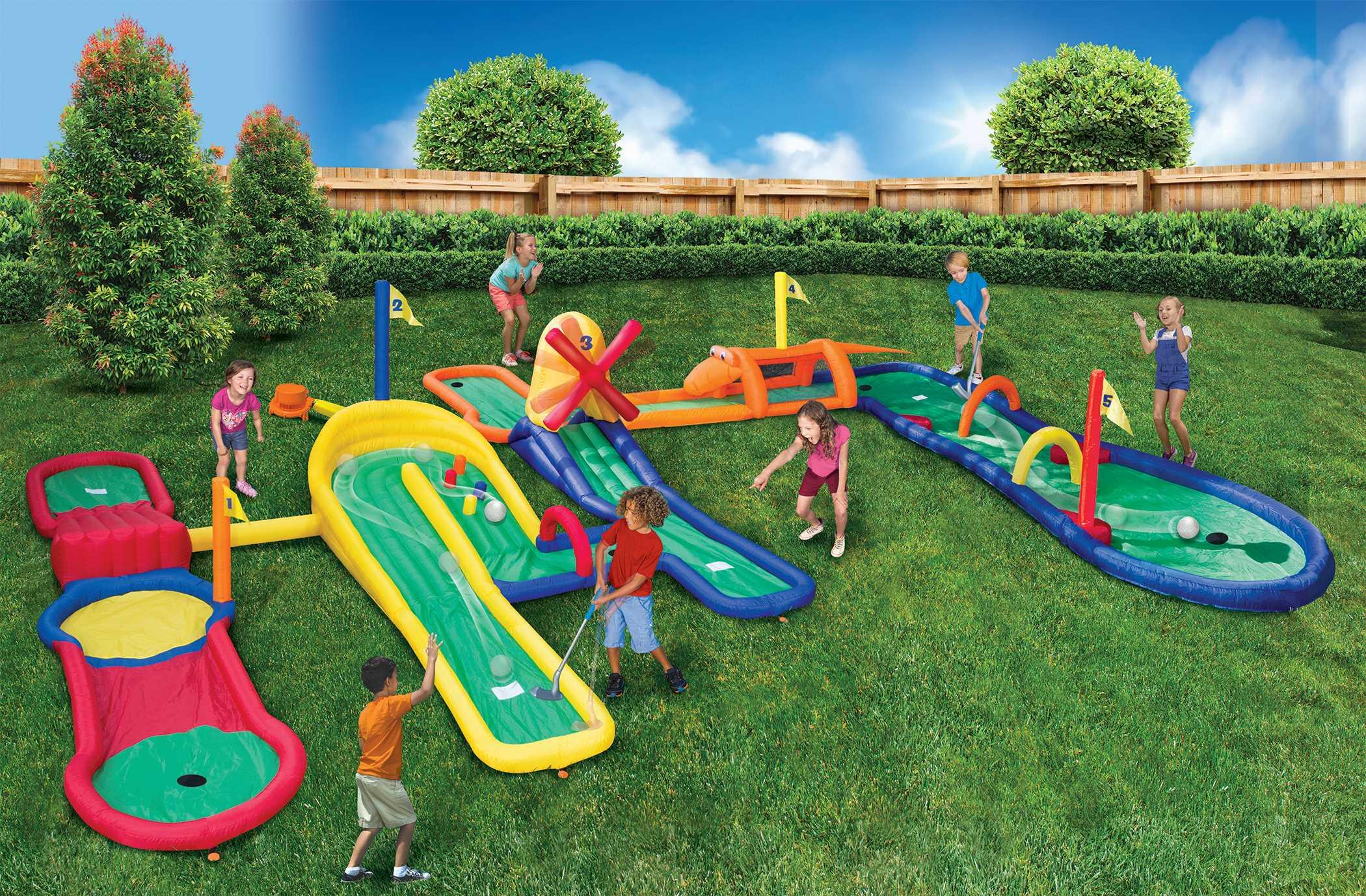 Banzai Inflatable 5 Hole Mini Golf Course Backyard ...