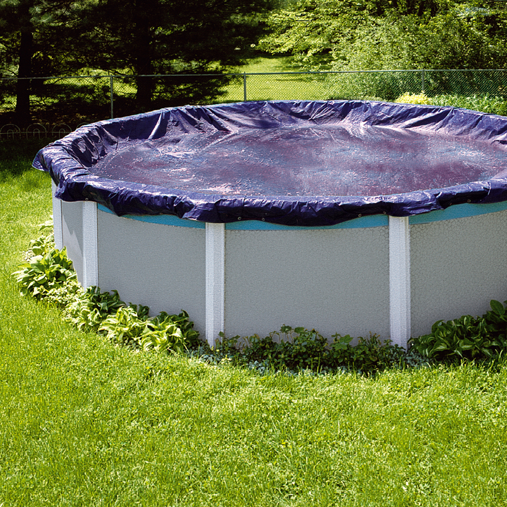 Swimline 28 foot round above ground winter pool cover blue tools pco831 ebay for A swimming pool is circular with a 40 ft diameter