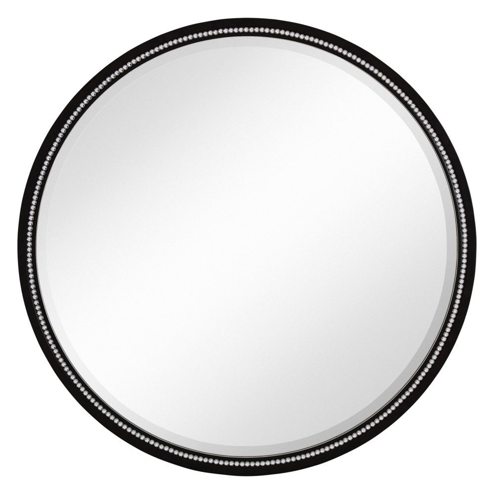 Majestic Mirror Round Black With Silver Bead Framed Wall 36 In