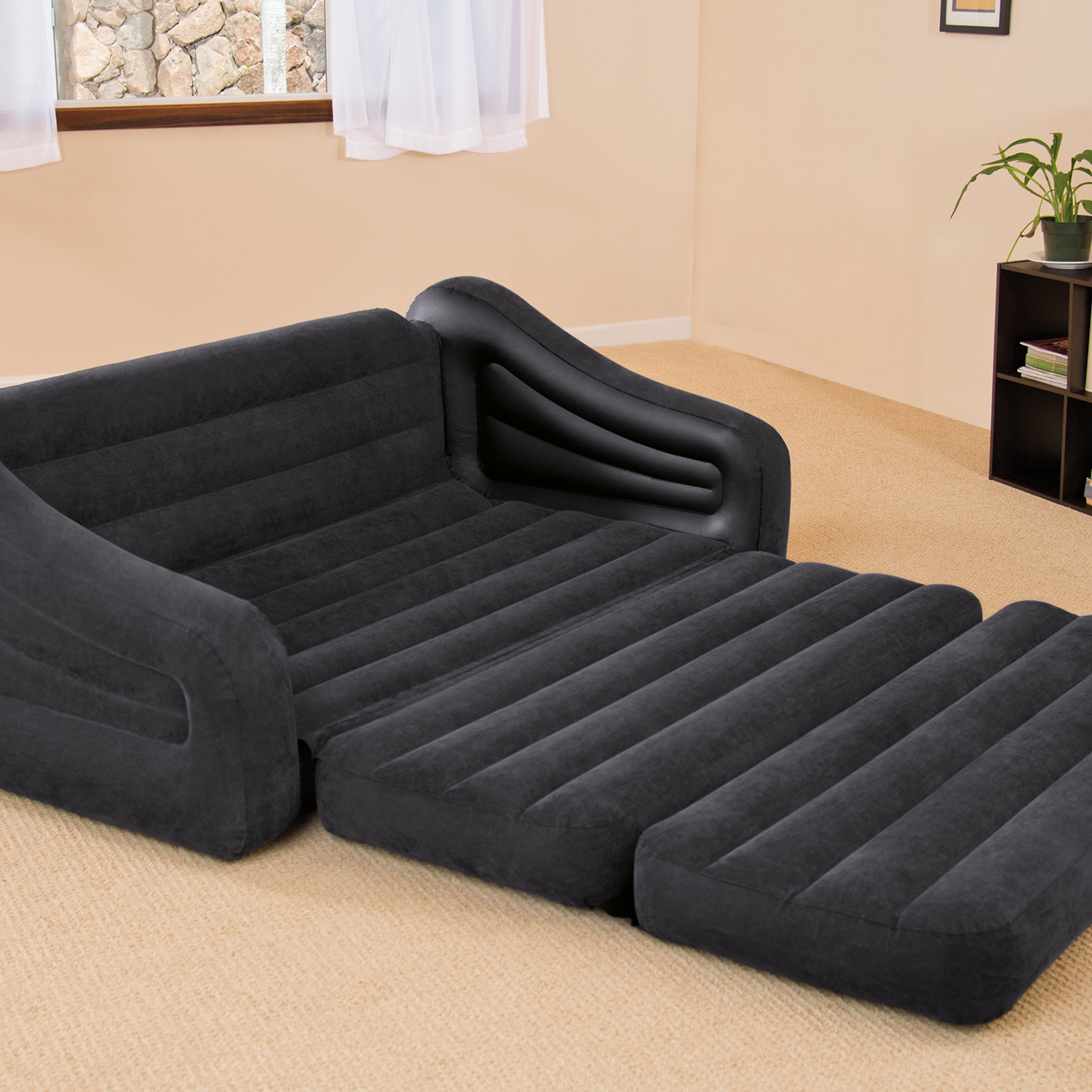 Intex inflatable queen size pull out futon sofa couch bed dark gray 68566ep ebay Loveseat with pullout bed