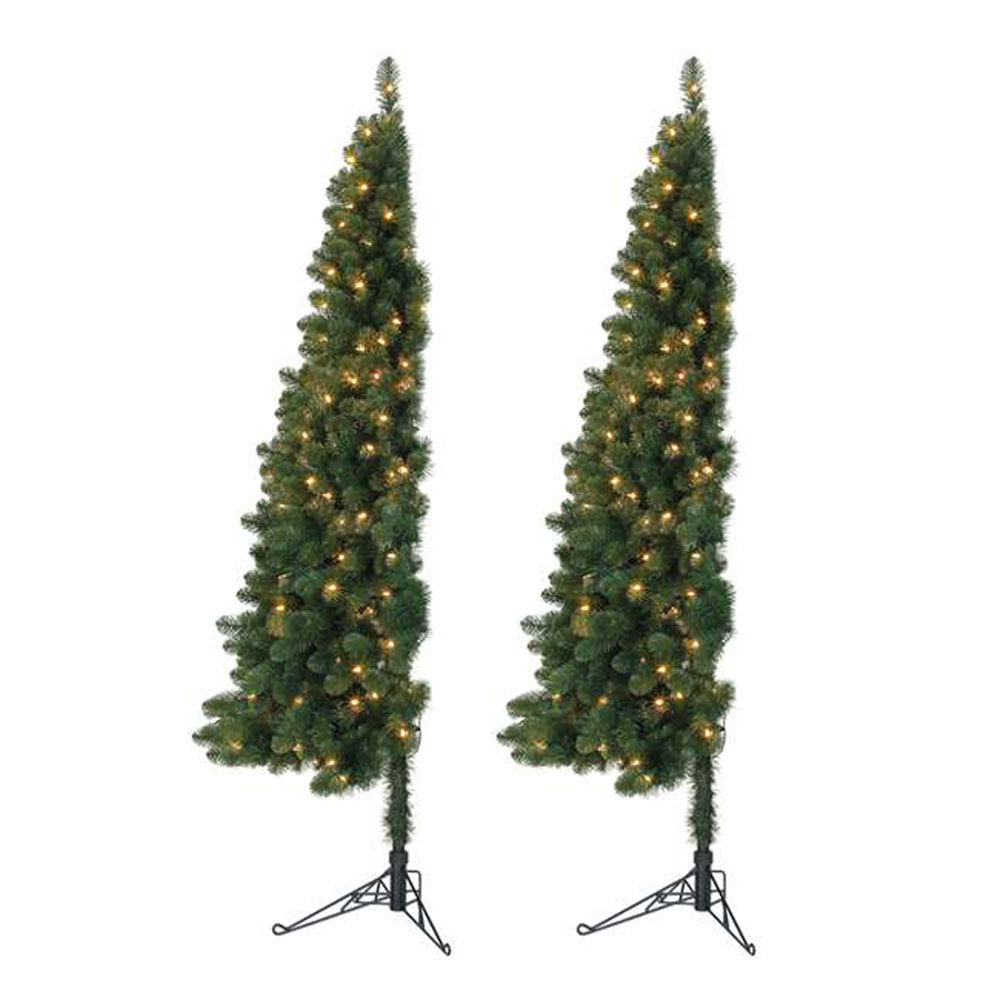 Home Heritage 7 Pre Lit Pvc Artificial Half Christmas Tree With Stand 2 Pack