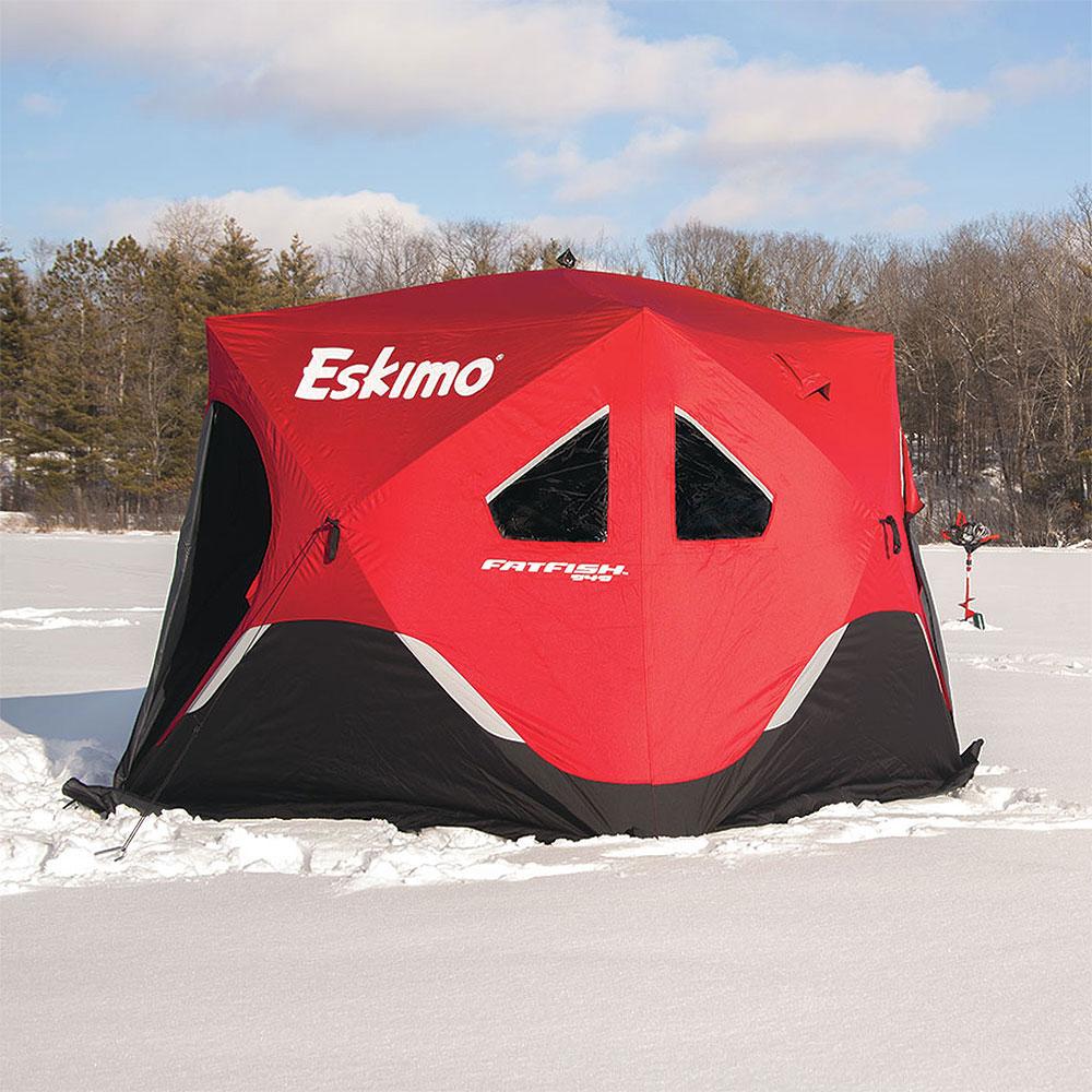 Details about Eskimo FatFish Portable 3-4 Person Pop Up Ice Fishing Shanty  Shack Shelter Hut
